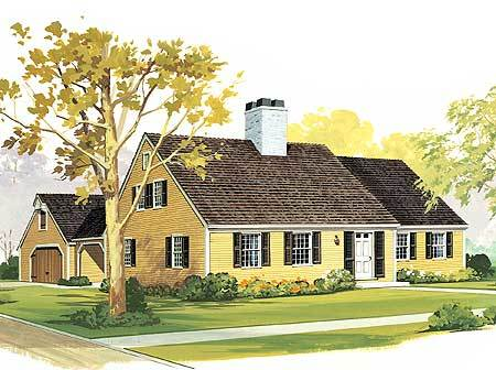 Starter or retirement home plan 0891w architectural for Retirement cottage plans