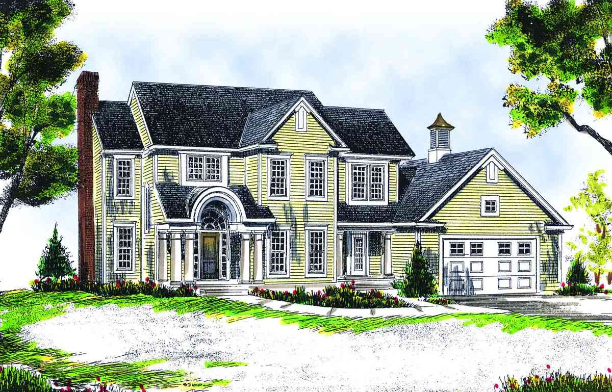 Attractive two story farmhouse 89114ah architectural for 2 story farmhouse