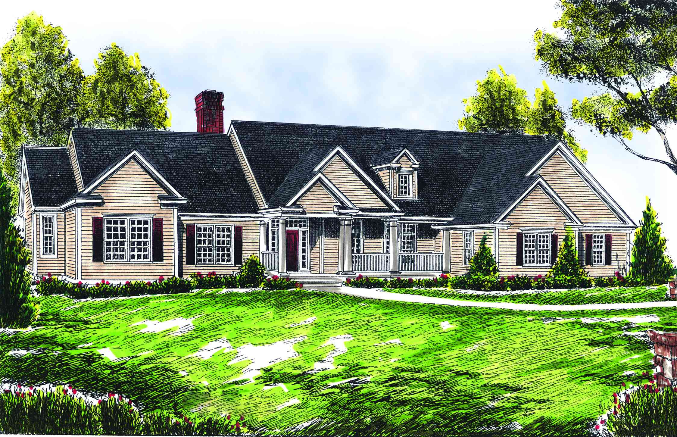 ranch style farmhouse plan 89119ah architectural