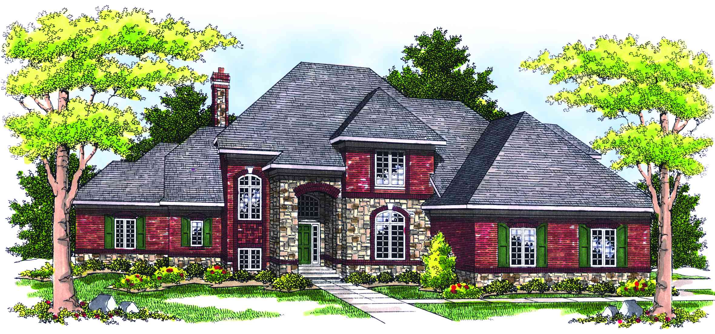Two story french country home plan 89129ah for French country home plans with photos