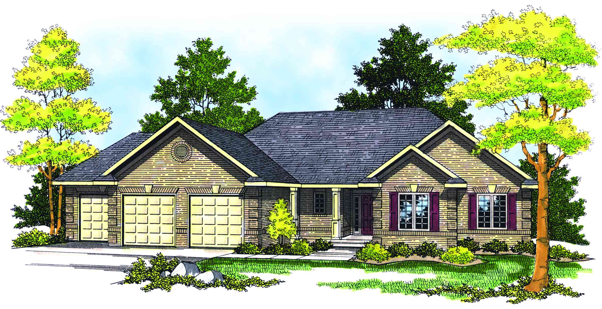 Traditional ranch style home plan 89130ah 1st floor for 3 car garage ranch house plans