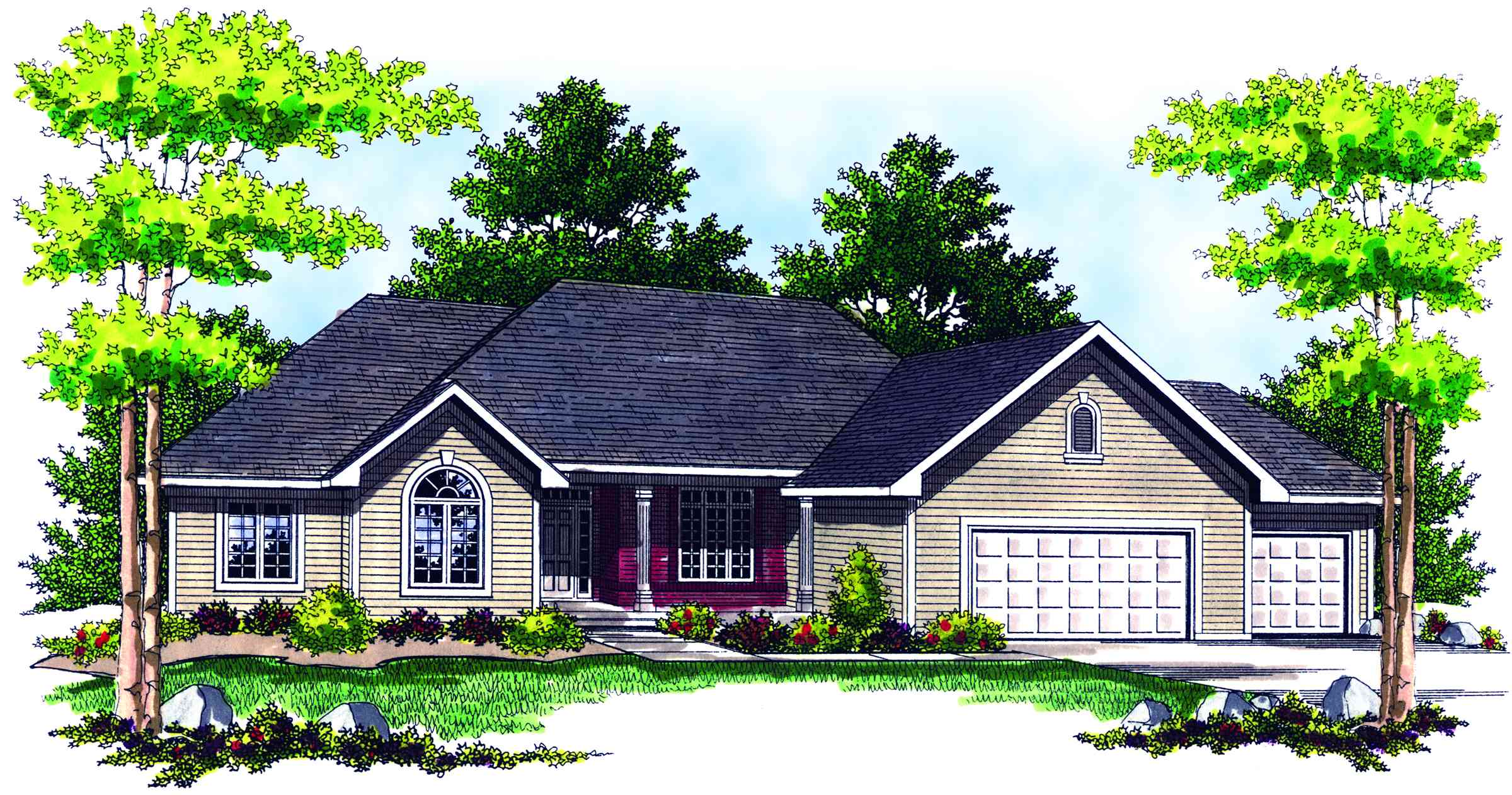 Traditional ranch home plan 89132ah 1st floor master for Reverse ranch house plans