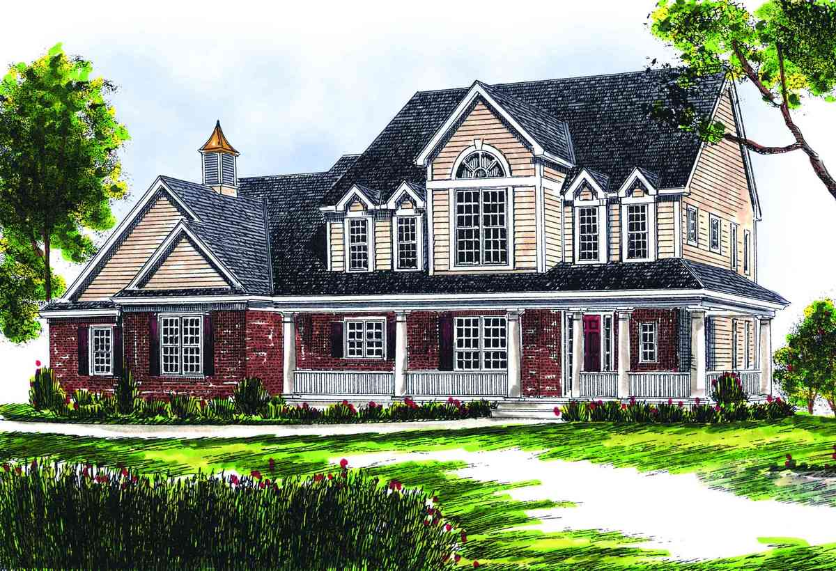 Two story farmhouse 89153ah architectural designs for Large farmhouse house plans