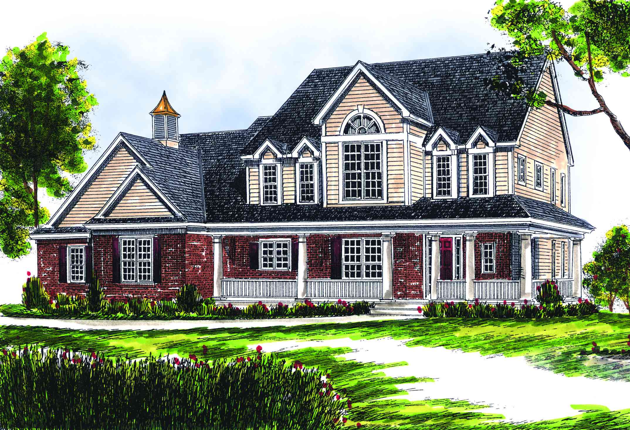 Two story farmhouse 89153ah 1st floor master suite for Country farmhouse plans