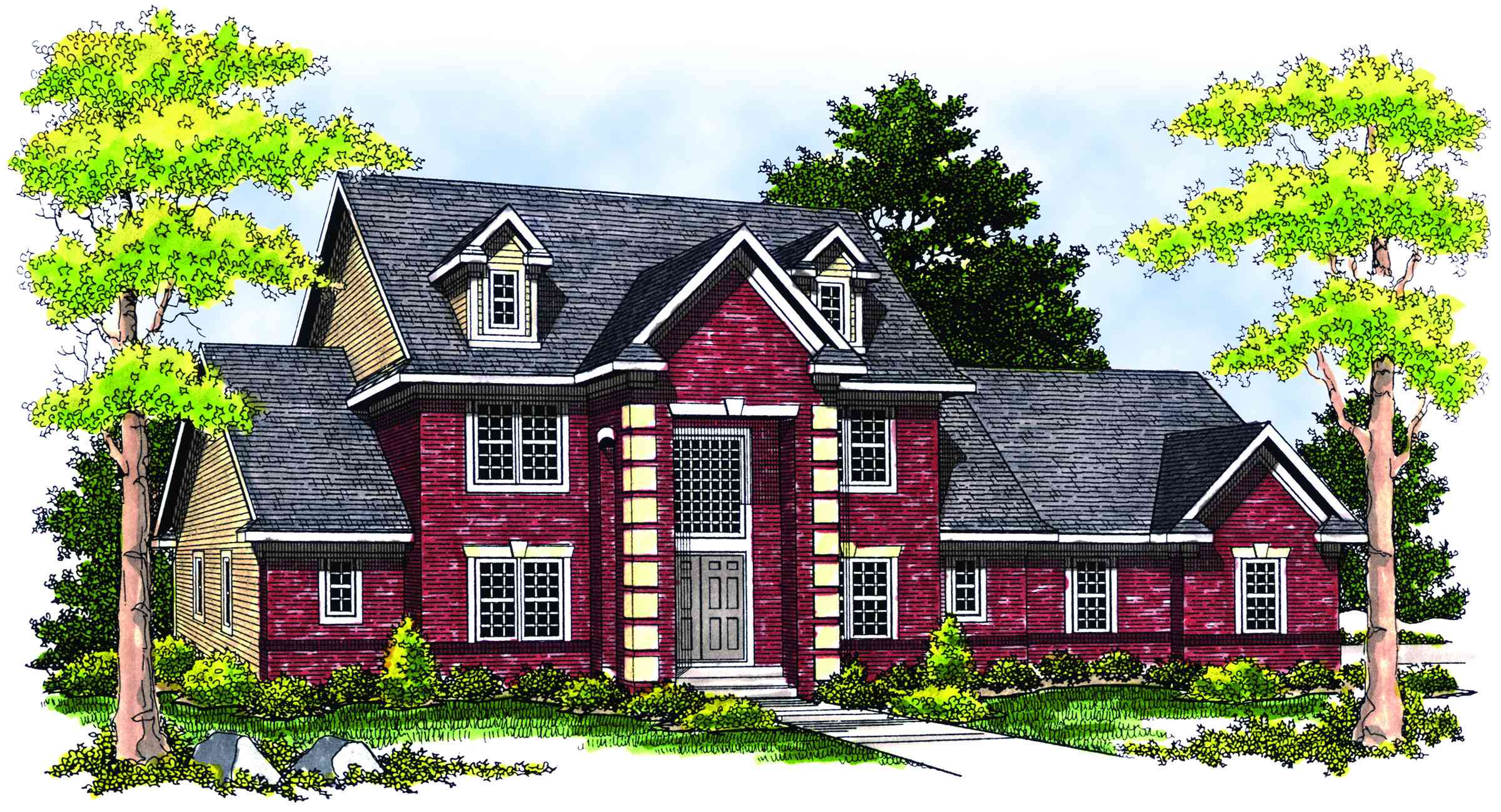 Two story columns and grand entrance 89157ah for House plans with columns