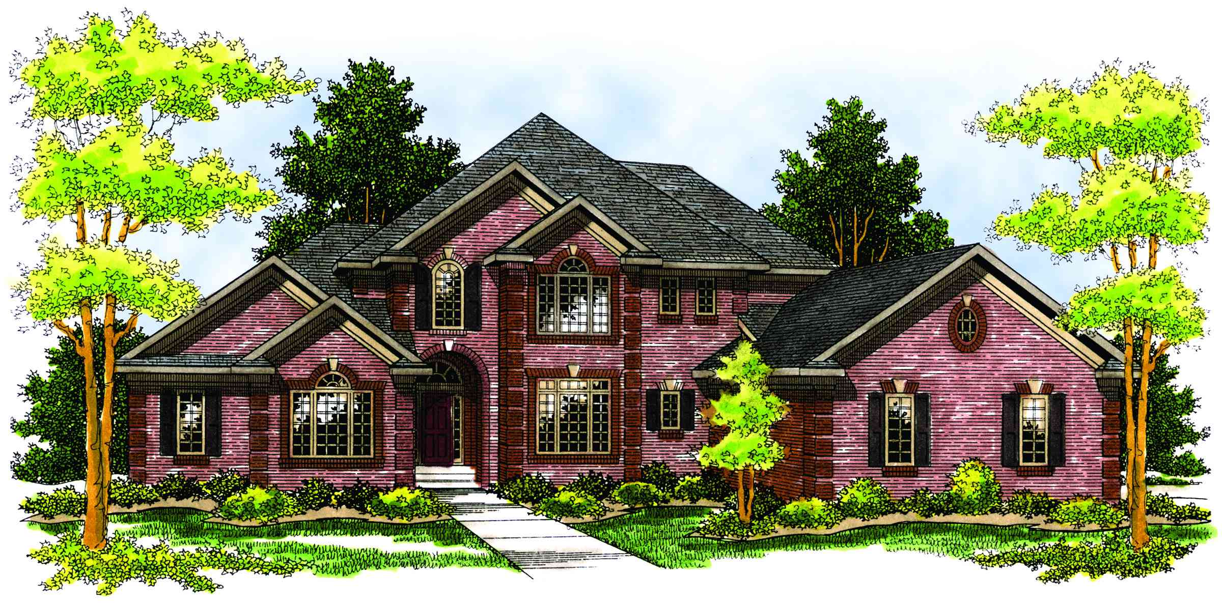 Brick two story home plan 89171ah 1st floor master for 2 story brick house plans