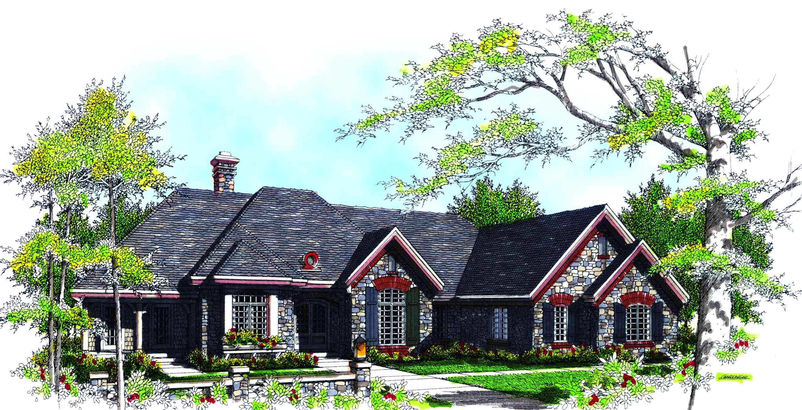 Old World Cottage Style Home Plan 89190ah