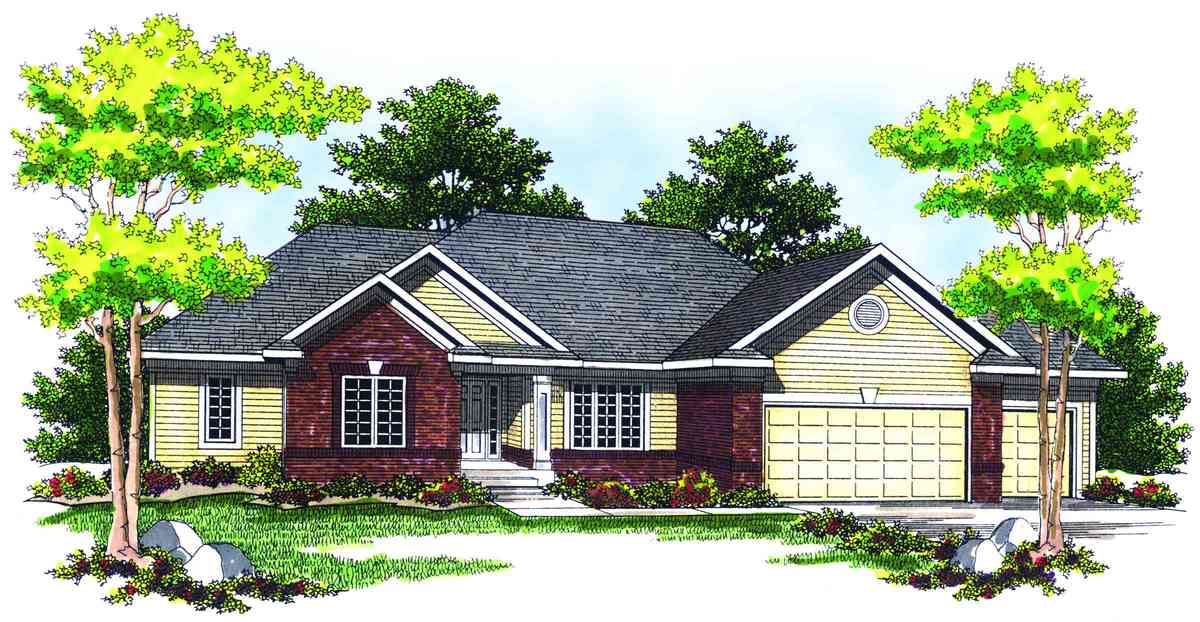 Traditional Design With Brick And Siding Facade 89206AH