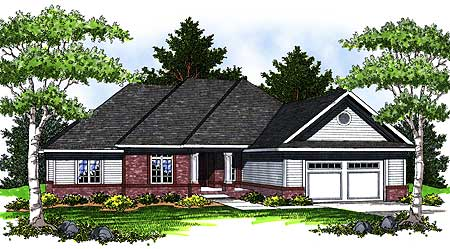 Ranch home with hip roof 89231ah 1st floor master for Hip roof ranch house plans