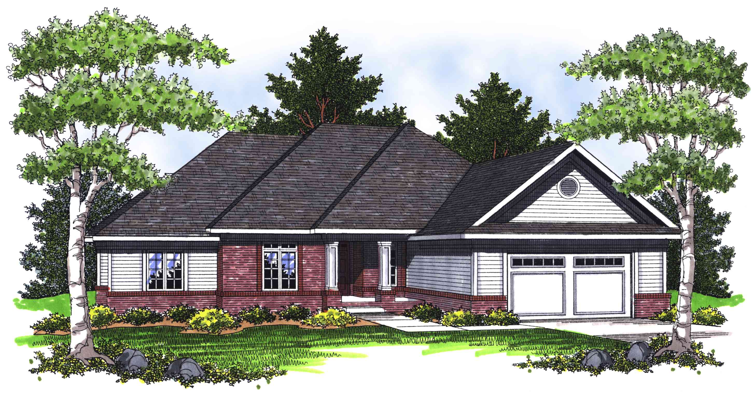Ranch home with hip roof 89231ah 1st floor master for Ranch house roof styles