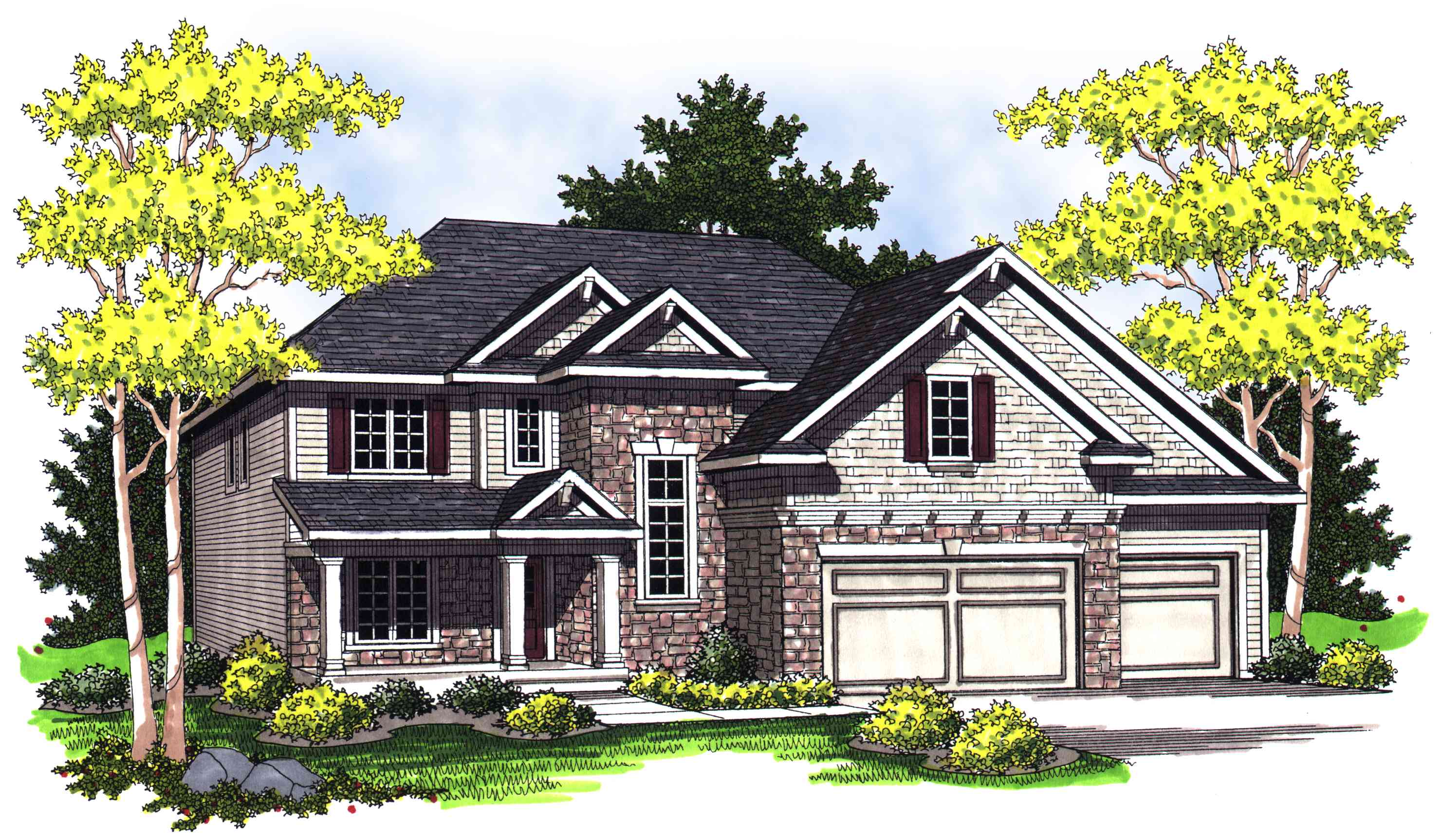 European home plan with columns on front porch 89241ah for House plans with pillars