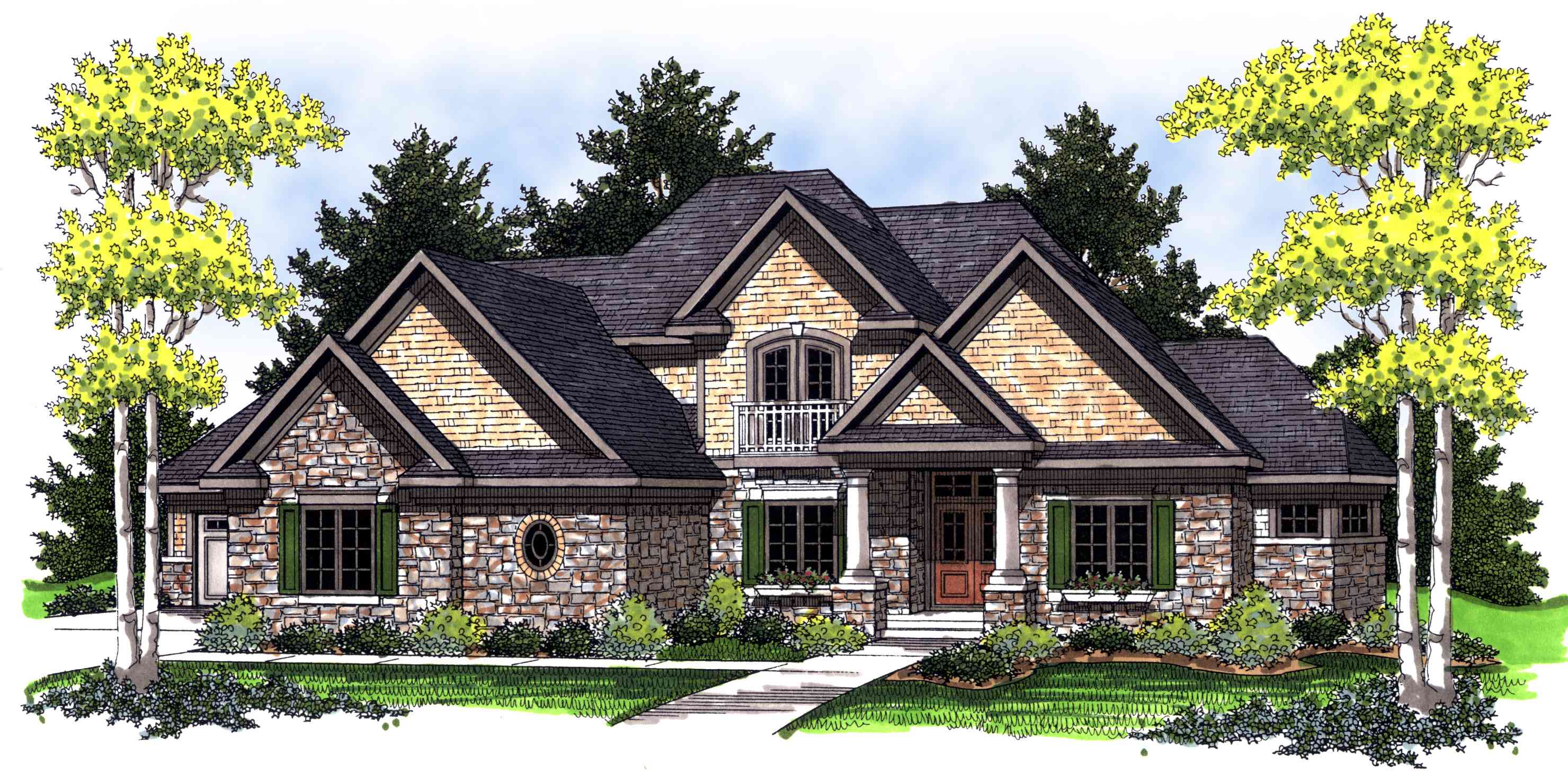 Bay windows throughout european accented home plan for European farmhouse plans