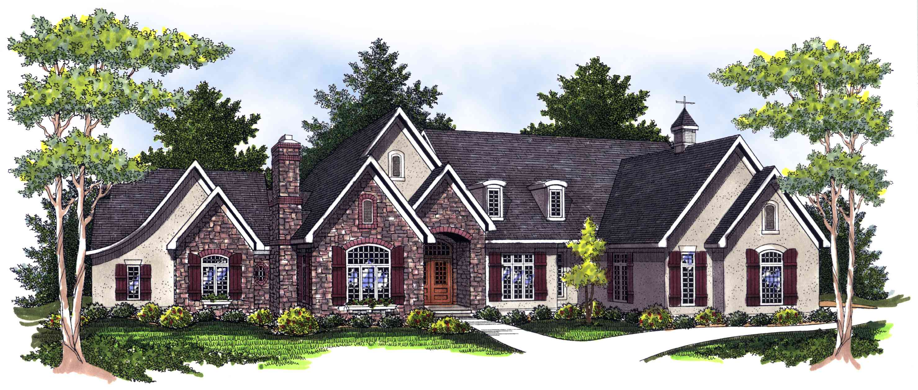 Ranch with stone and stucco mix 89249ah architectural for Stucco home floor plans