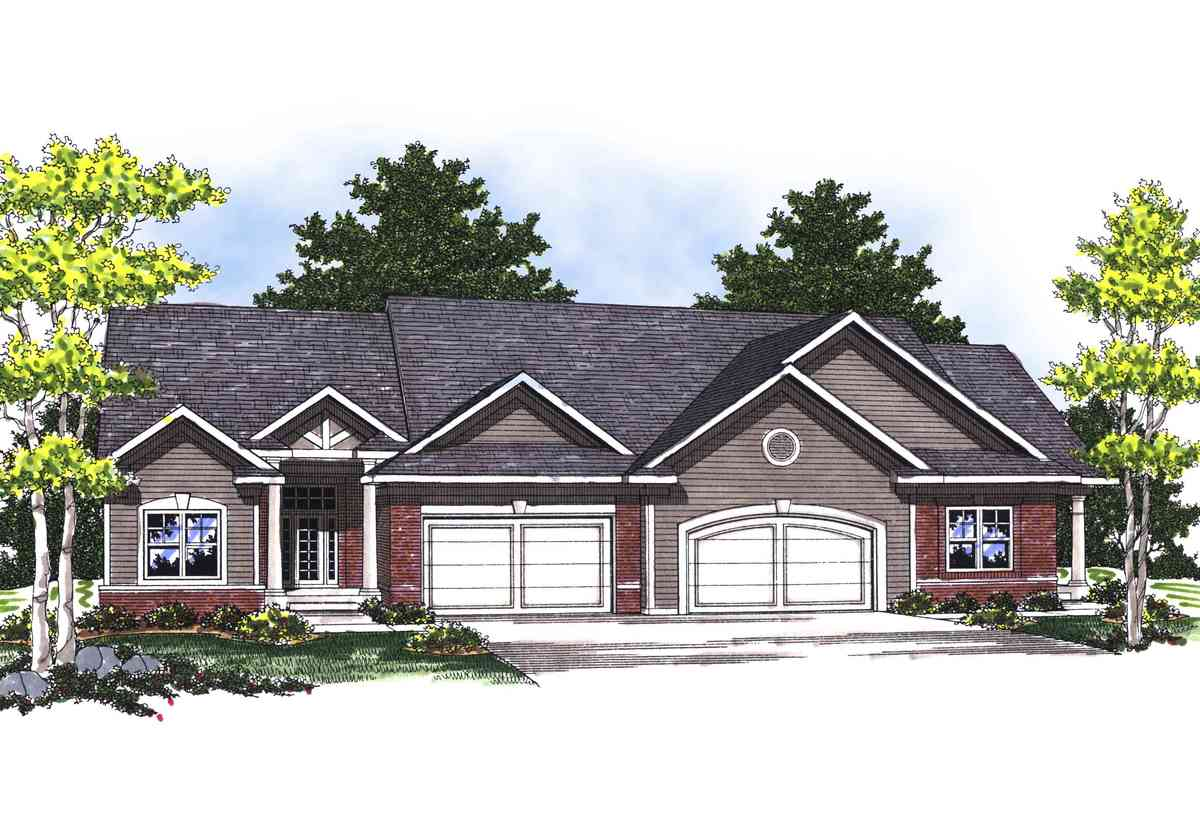 Traditional ranch duplex 89253ah architectural designs for Building plans for duplex homes