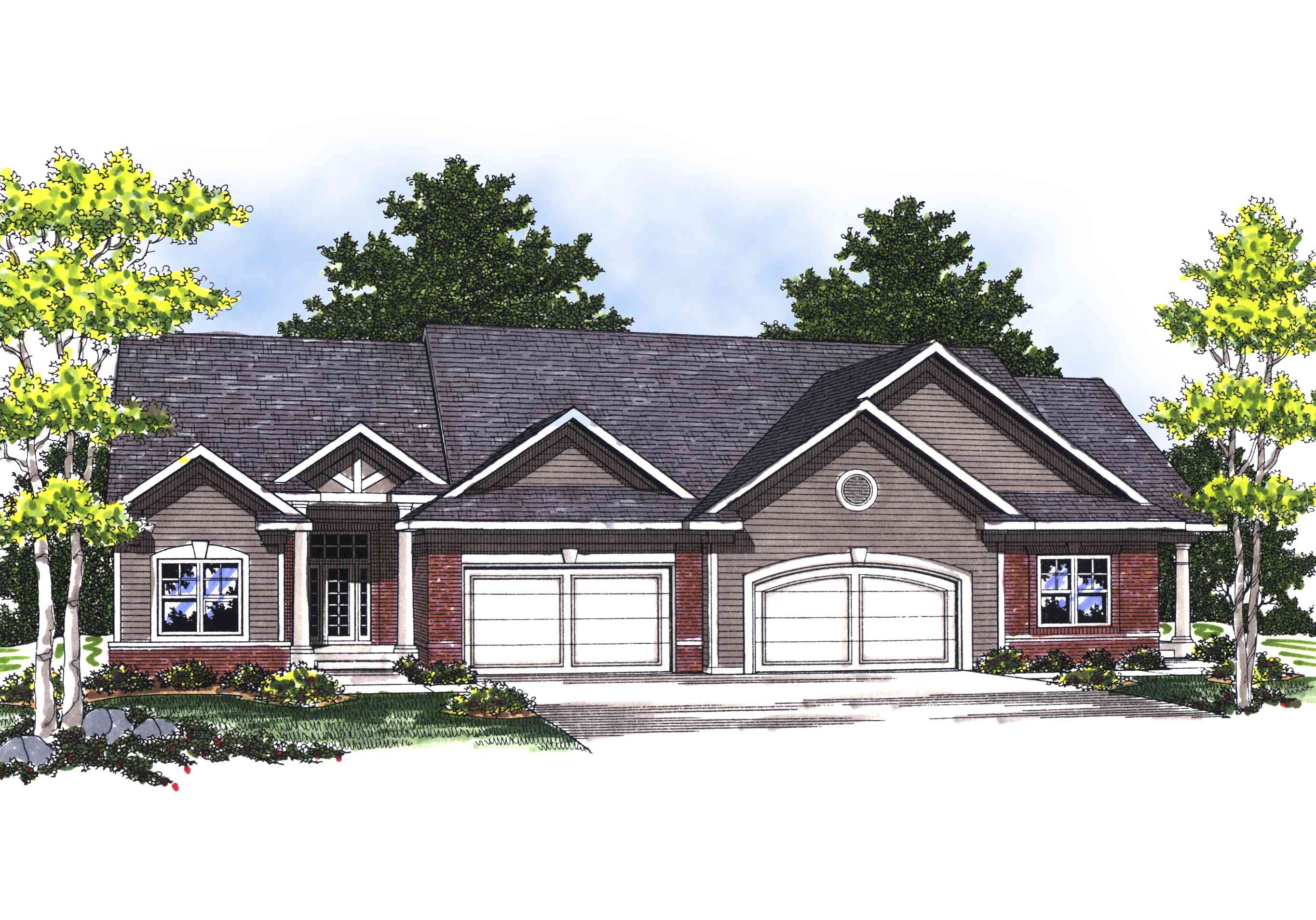 Traditional ranch duplex 89253ah architectural designs for Architecturaldesigns com house plan 56364sm asp