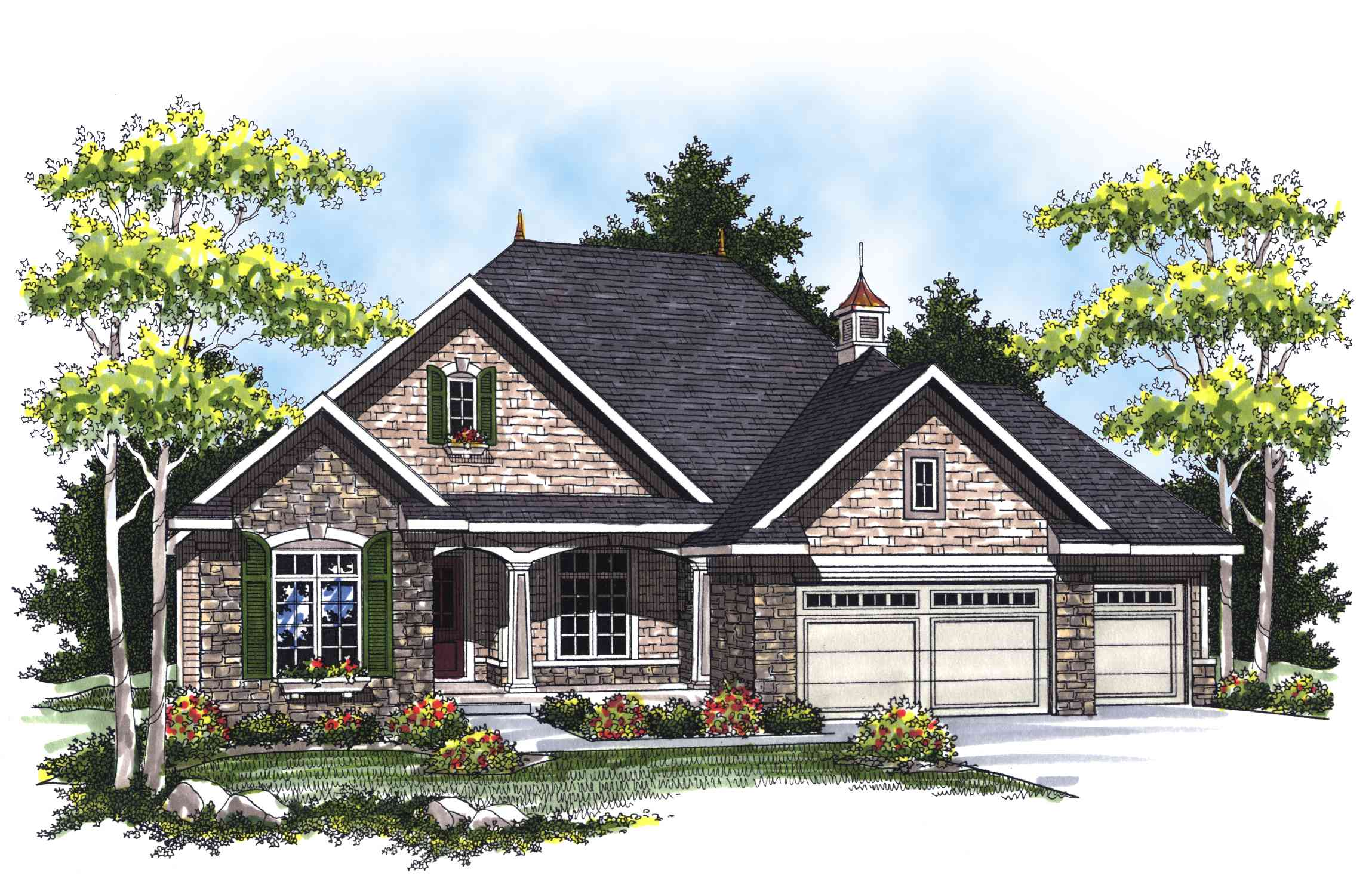 Home Design Plans: Country French Ranch Home Plan - 89265AH