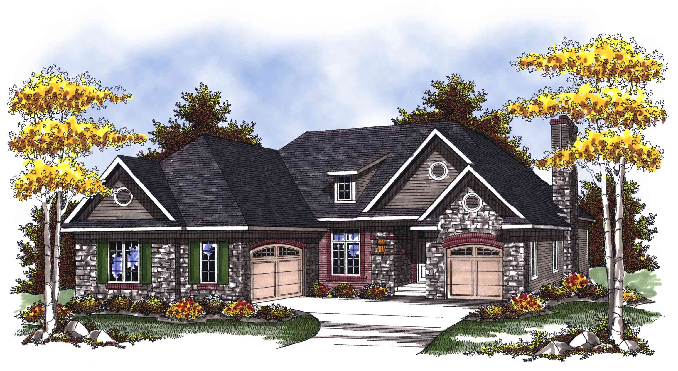 Split garage ranch home plan 89266ah 1st floor master for Ranch house with garage