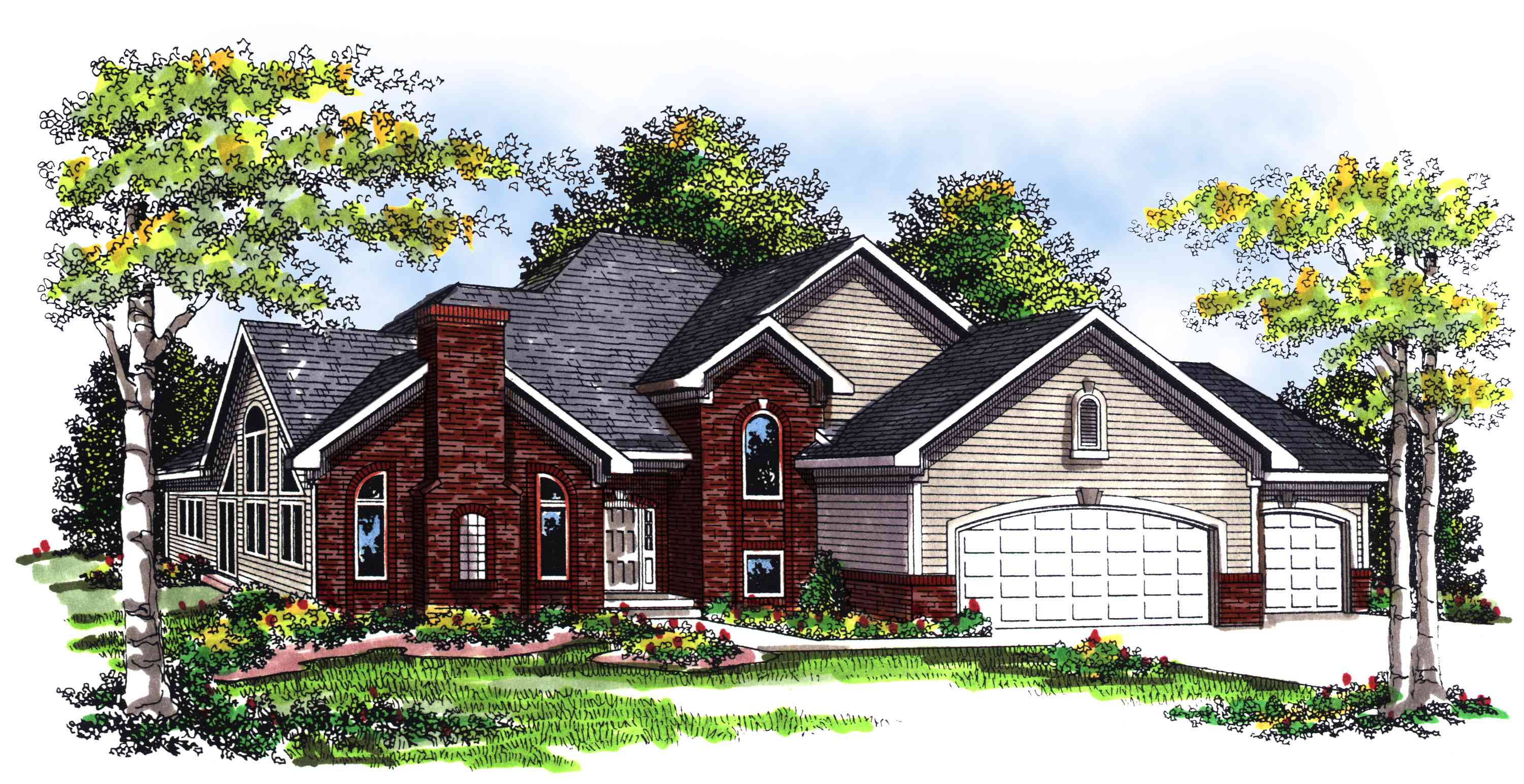 Two story brick and siding home plan 89274ah for 2 story brick house plans