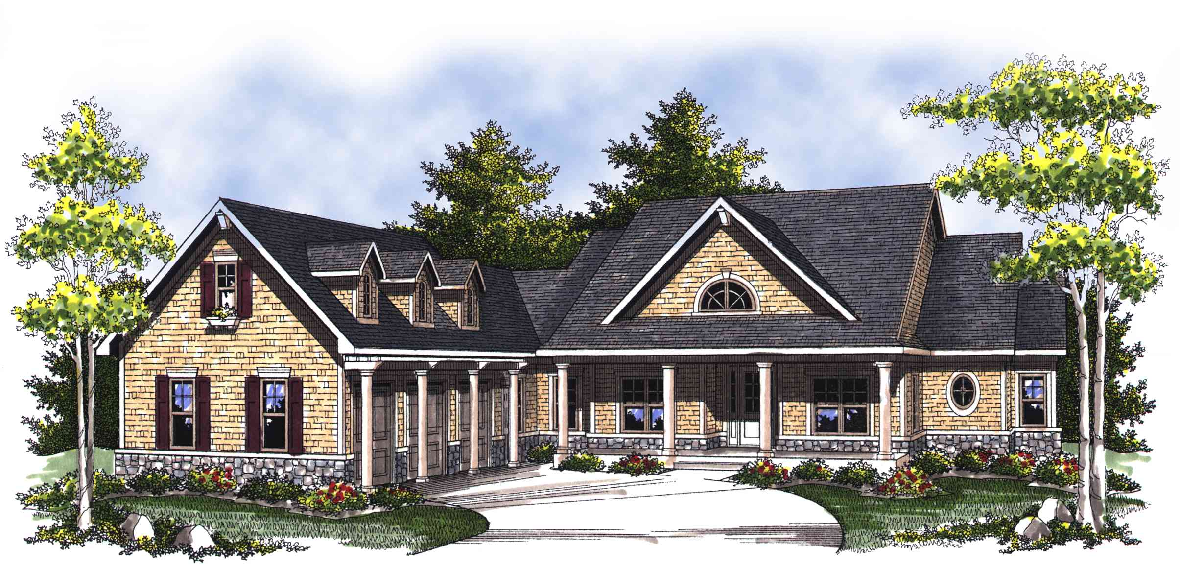 Classic country ranch home plan 89276ah architectural for Long ranch house plans