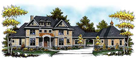 grand two story home plan with arched portico 89281ah