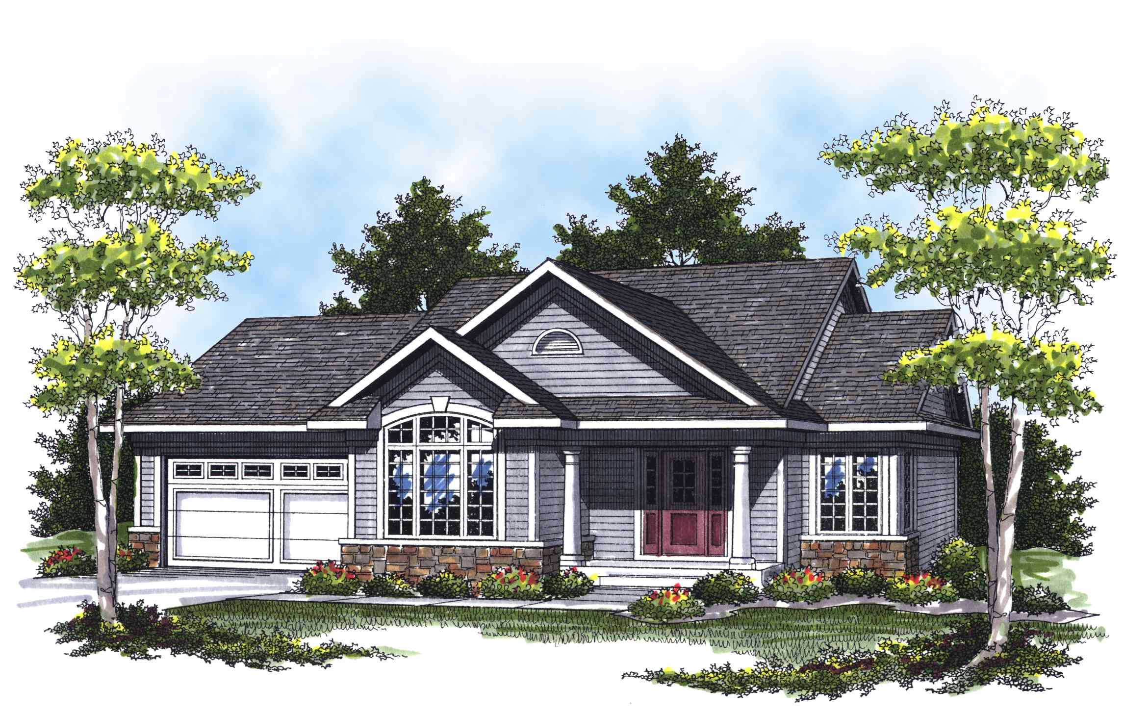 Lovely ranch with cathedral ceilings 89284ah for Vaulted ceiling house plans