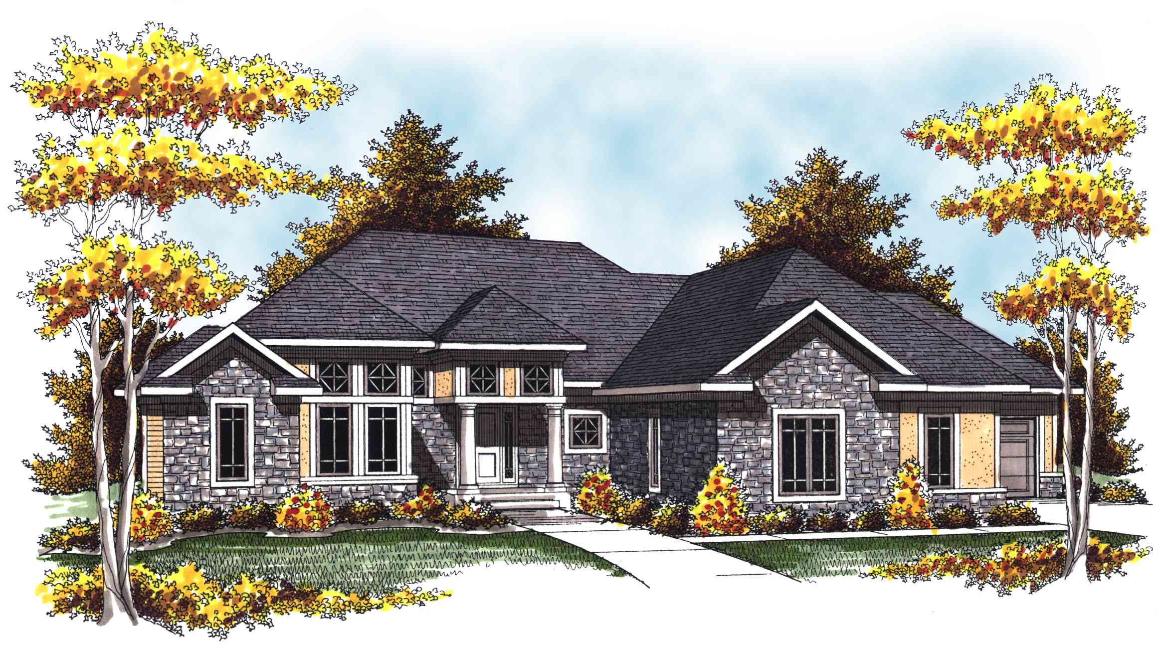 Two story home plan with stone and stucco 89290ah - Stone house designs and floor plans ...