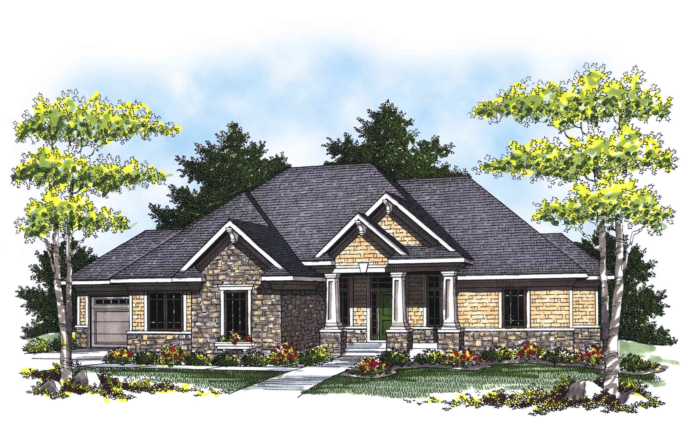 Ranch home plan with european details 89291ah for European farmhouse plans