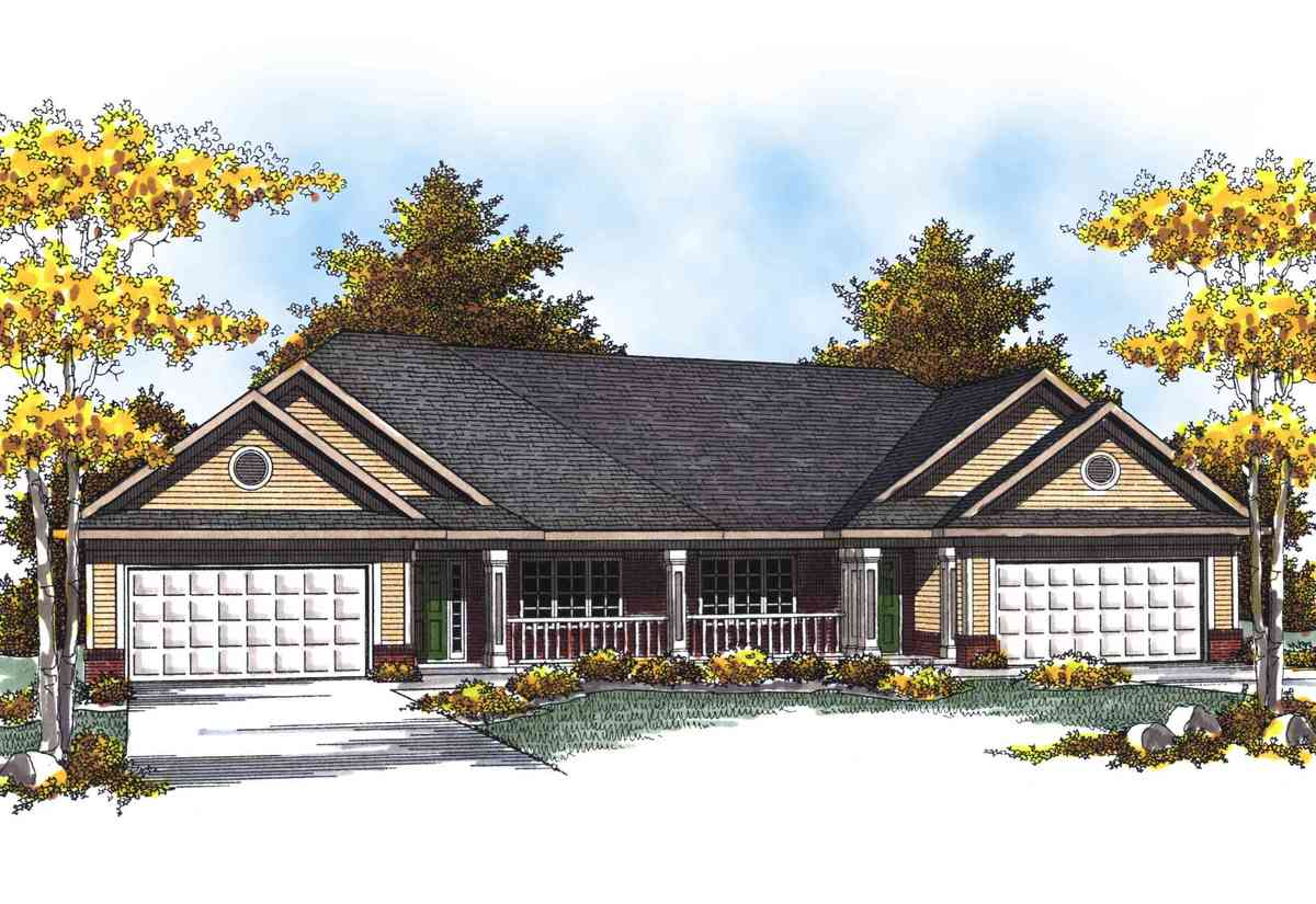 Traditional ranch duplex home plan 89293ah for Traditional ranch house plans