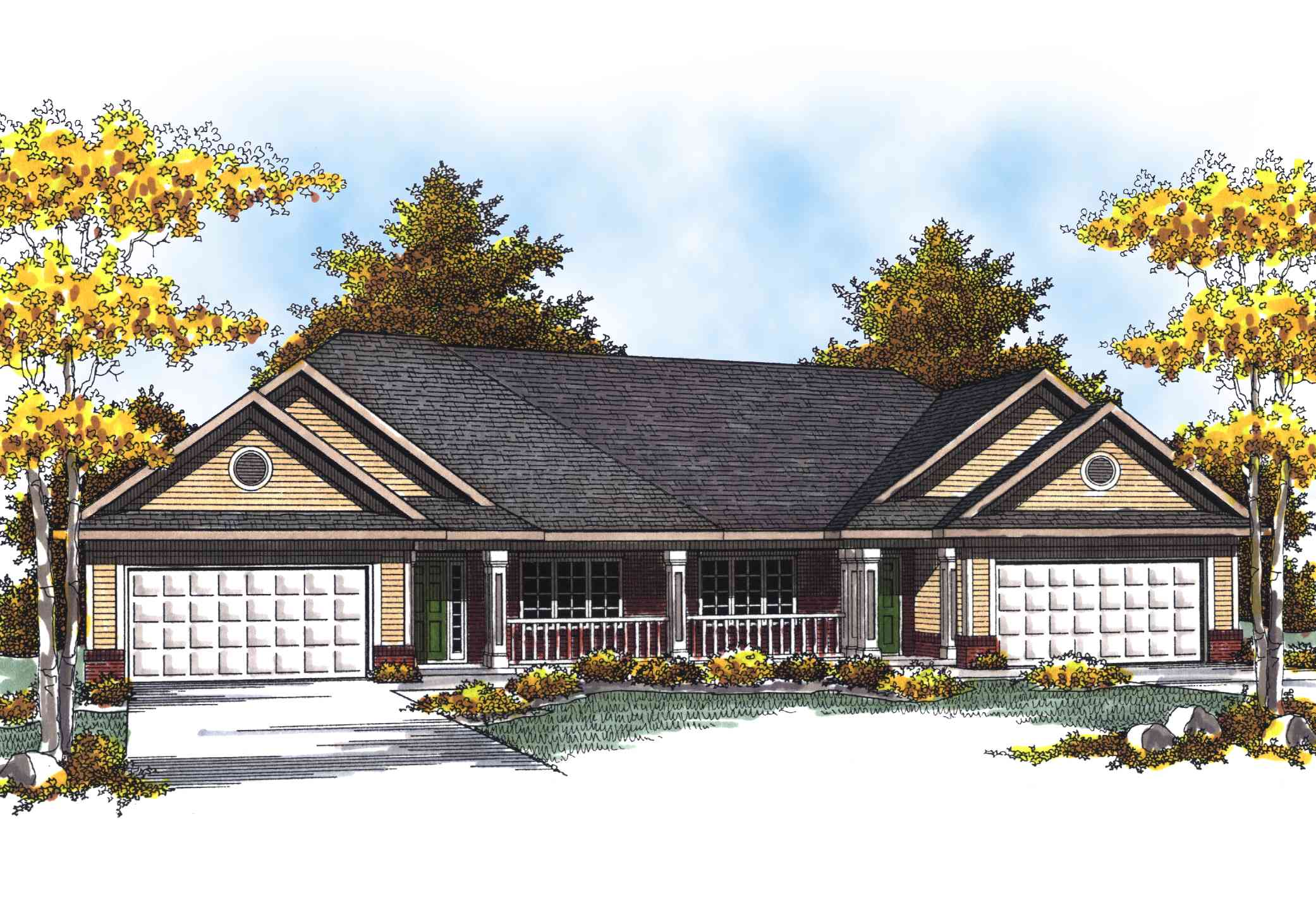 Traditional ranch duplex home plan 89293ah for Ranch house plans with garage