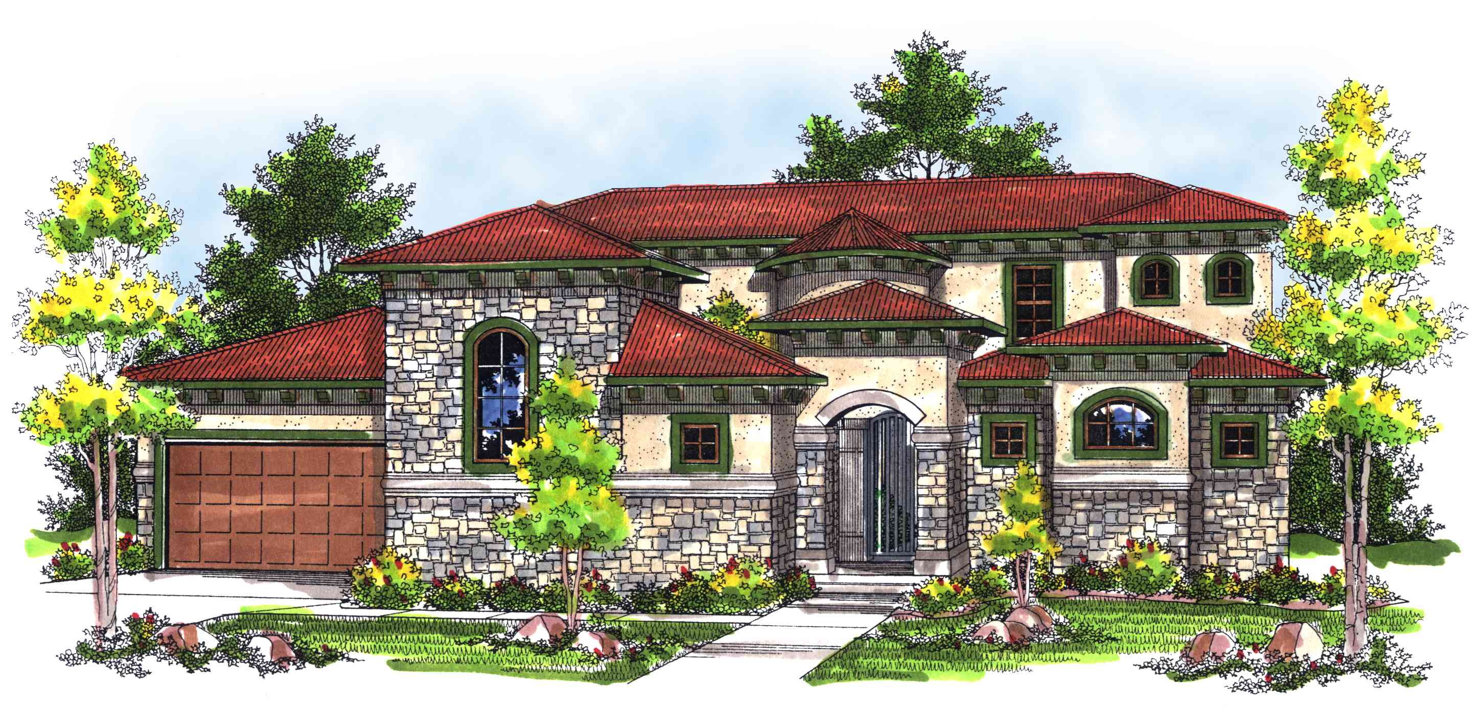 Mediterranean beauty with private walkway 89308ah for Italian farmhouse plans