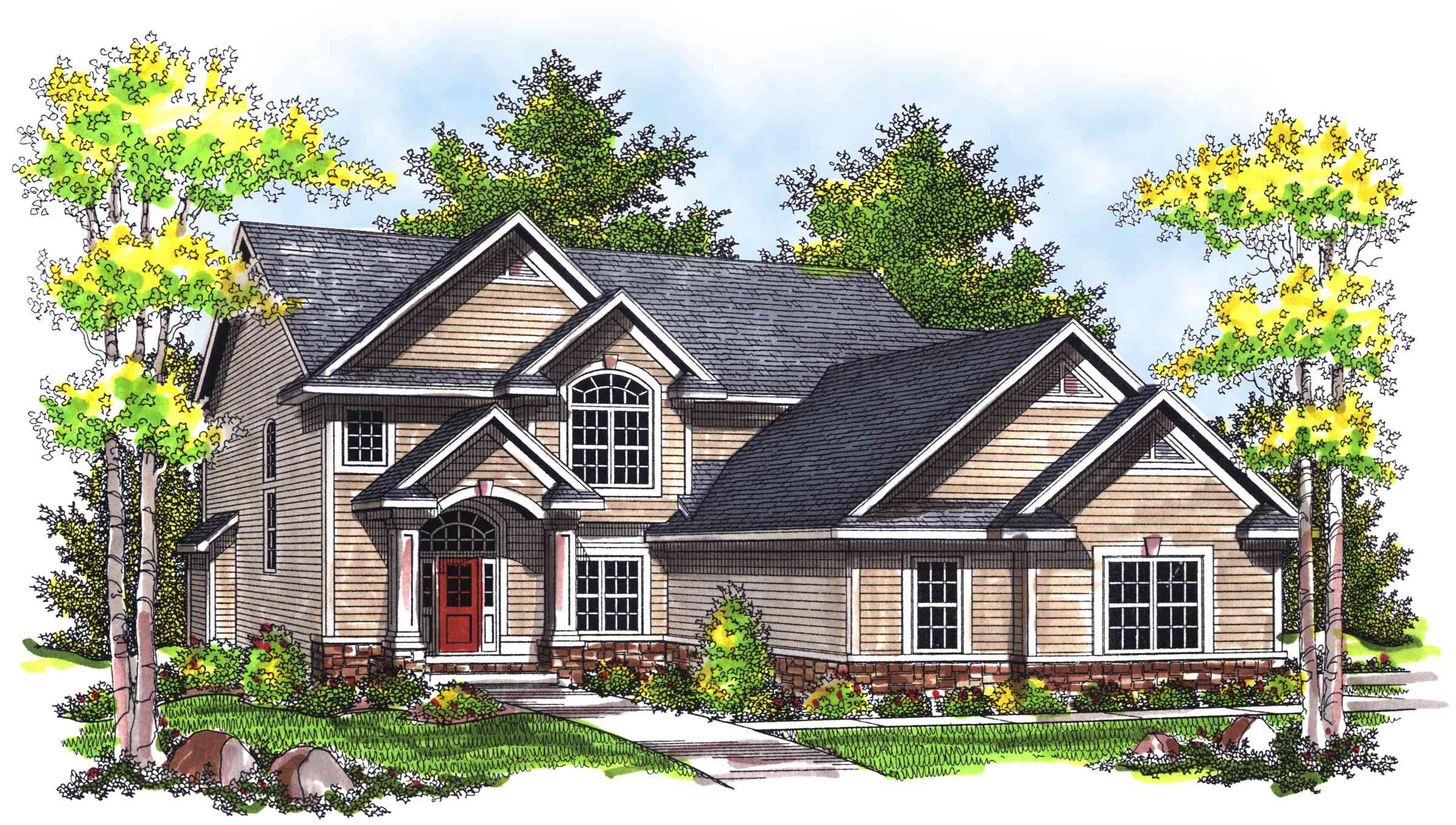 Traditional two story home plan 89323ah 2nd floor 2 story traditional house plans