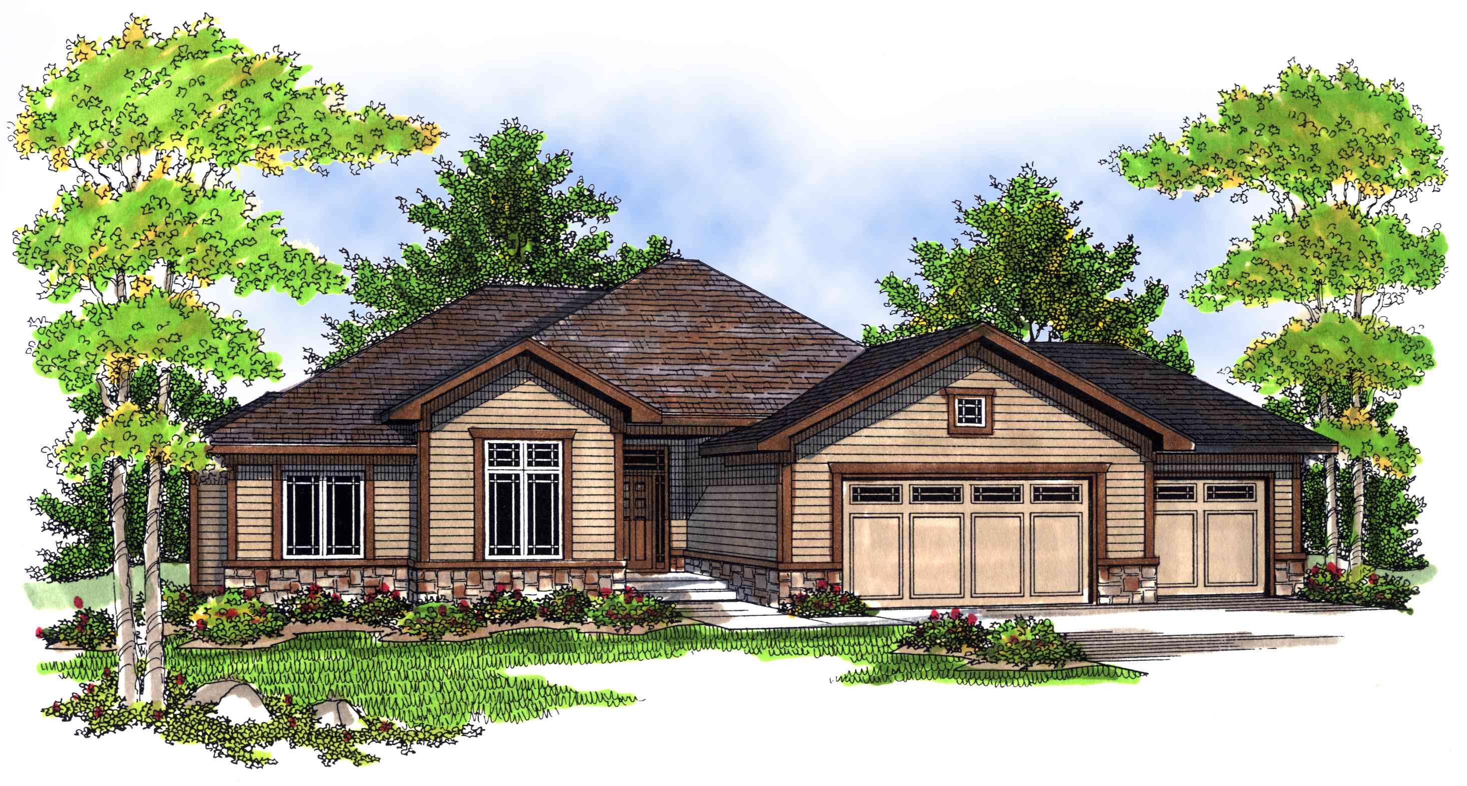 Traditional home plan with open floor plan 89338ah for Traditional open floor plans