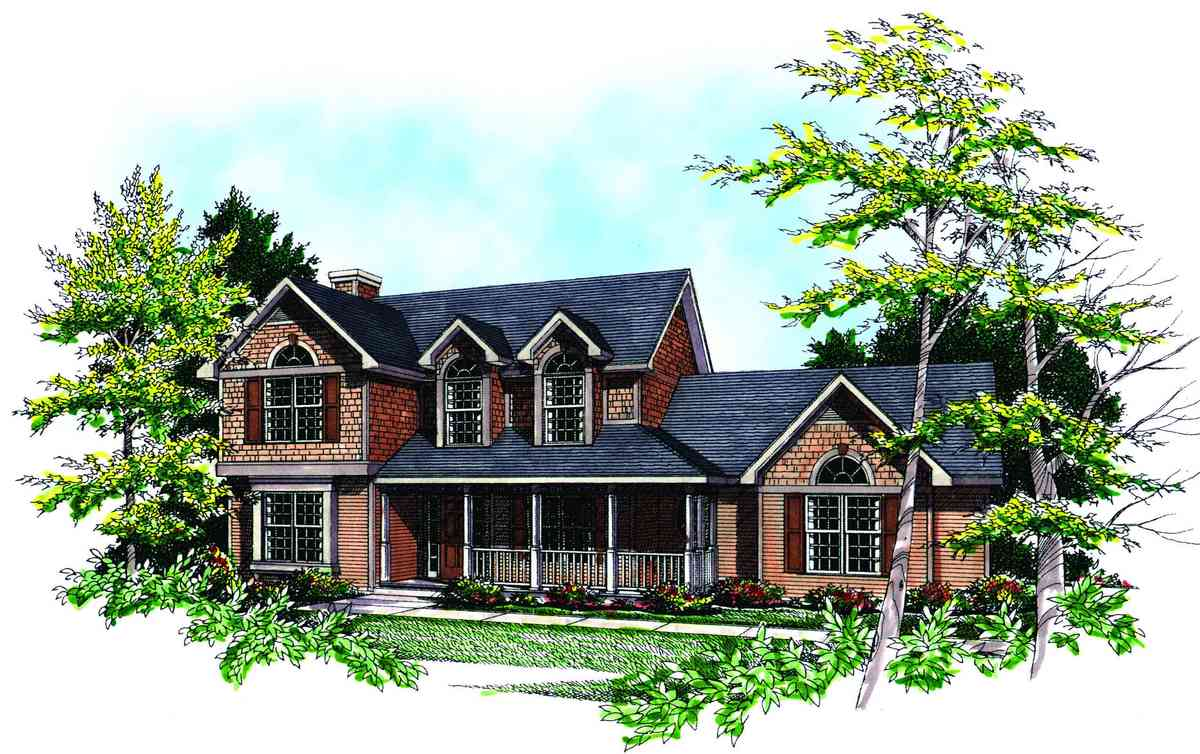 Traditional two story 8934ah architectural designs for Traditional house plans two story