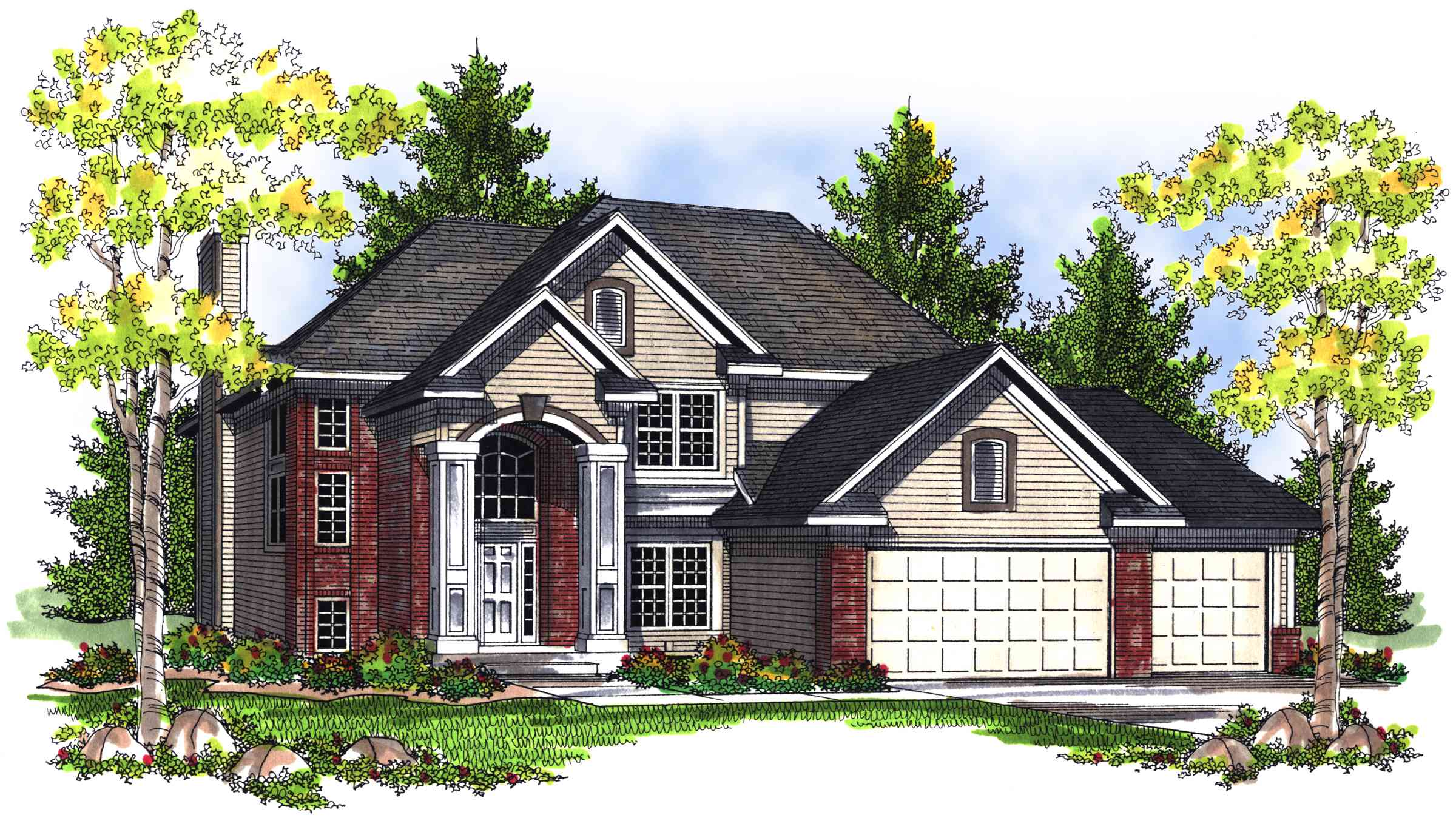 Traditional 2 story home plan with grand entry 89359ah for Traditional house plans two story