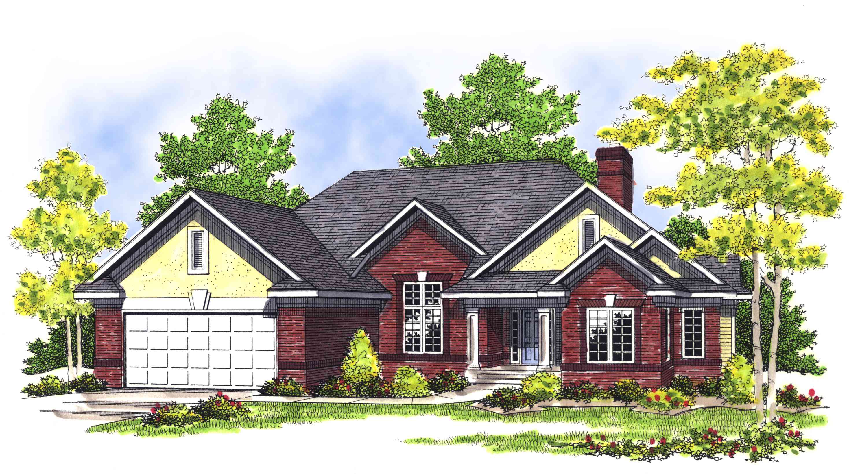 Traditional brick home plan 89384ah architectural for Traditional brick house plans