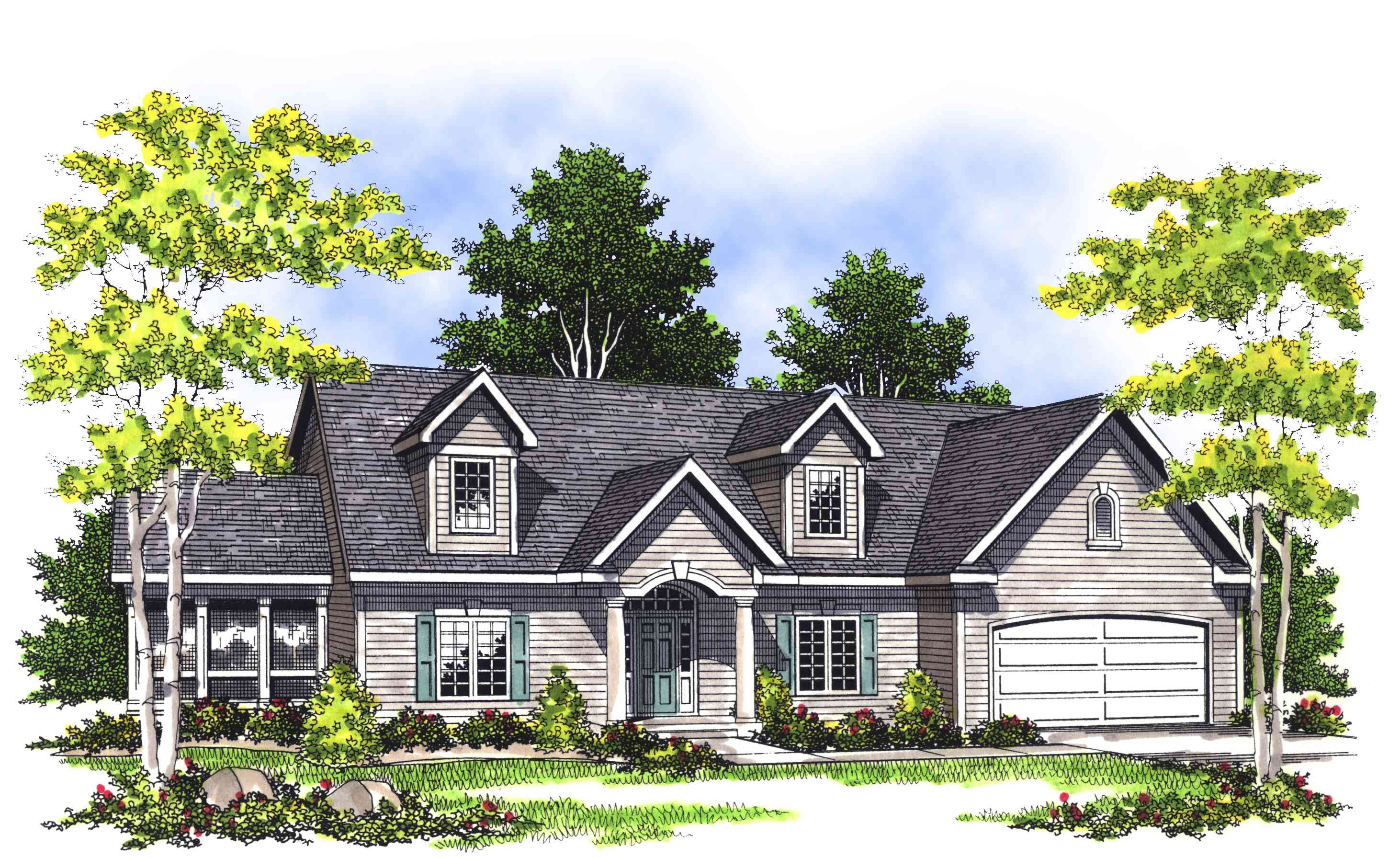 Two Story Foyer House Plans : Bright two story foyer ah architectural designs