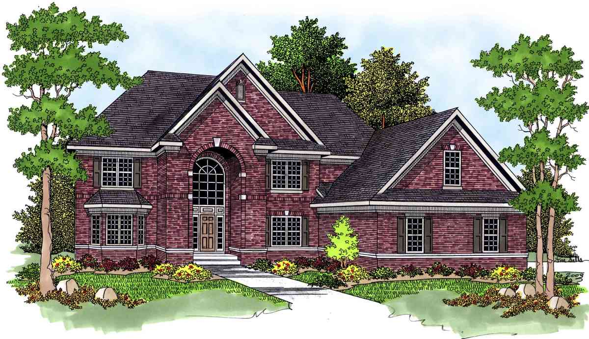 Spacious two story traditional home 8940ah for Traditional house plans two story