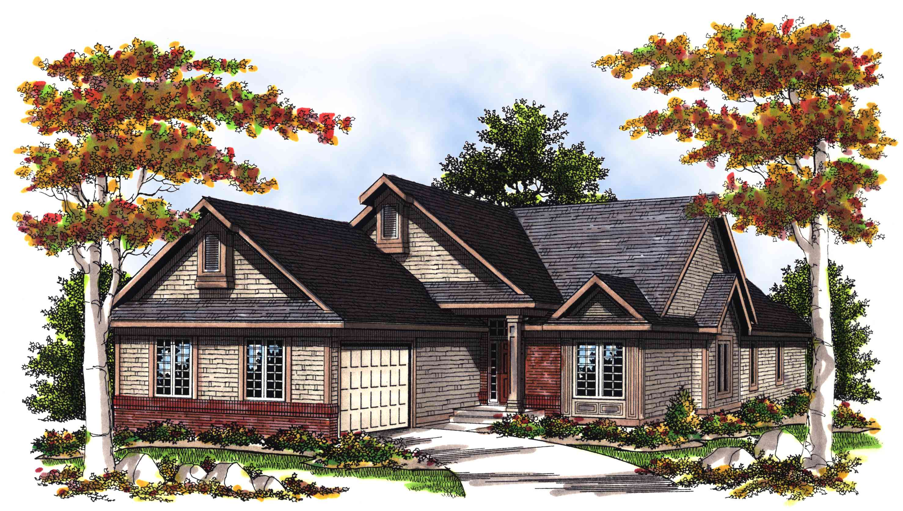 vaulted great room house plan
