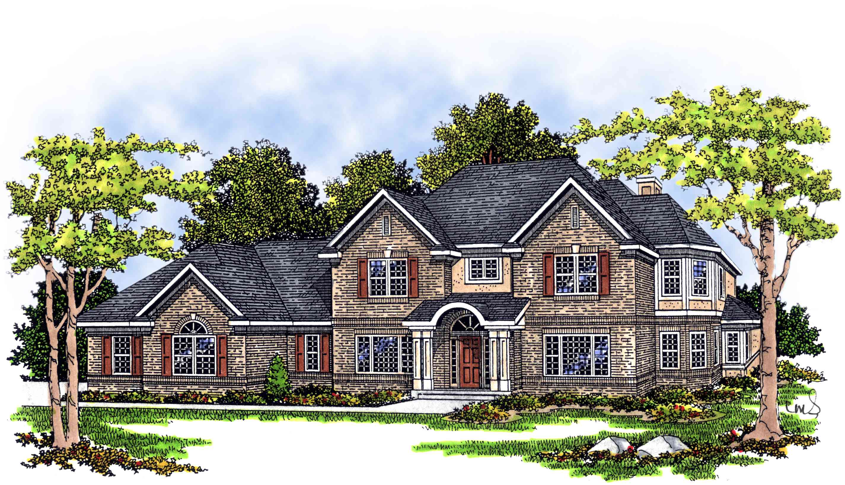 Beautiful two story home plan 8944ah 1st floor master for House plans with 2 story library