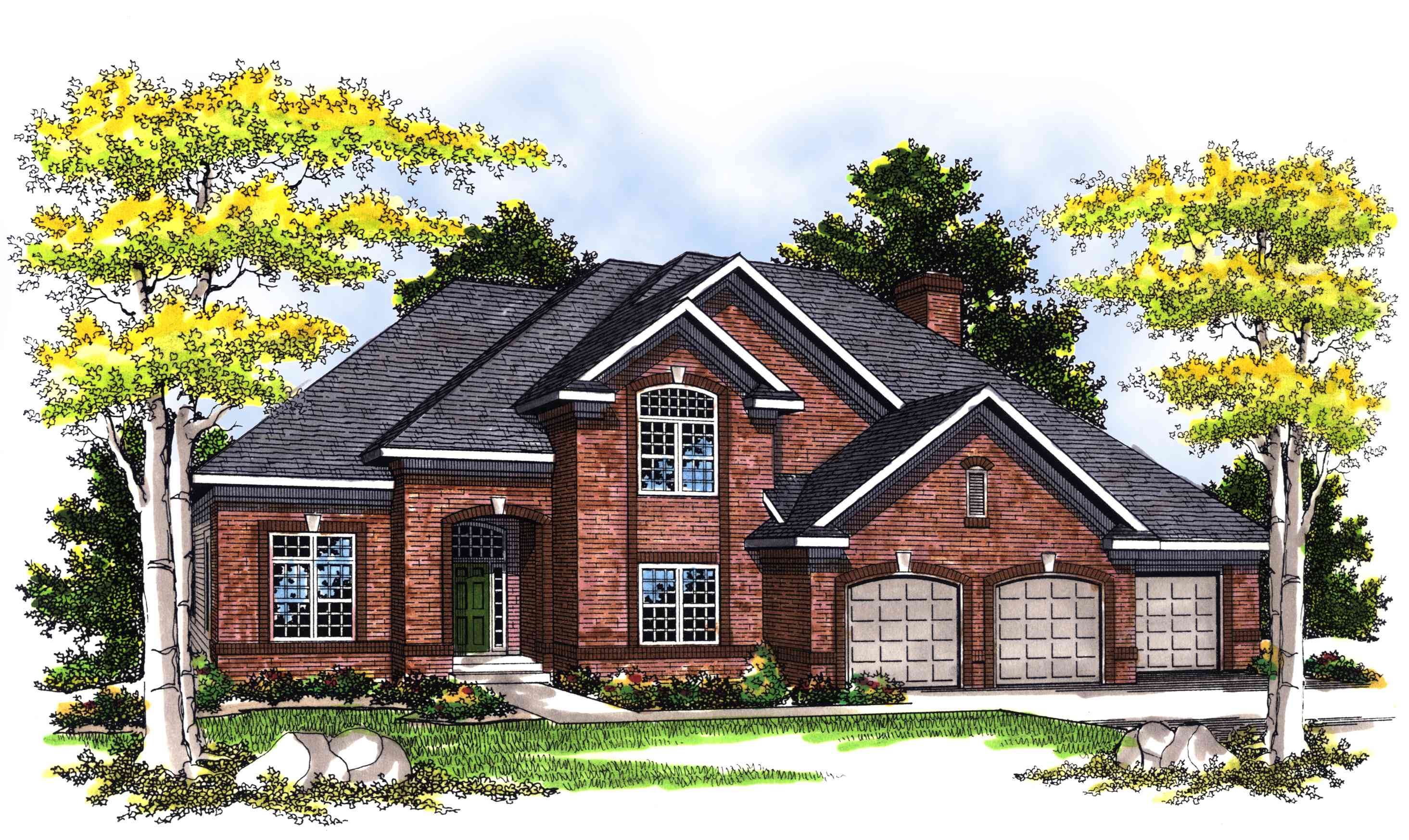 Traditional 2 story 4 bed home plan 89440ah for Traditional house plans two story