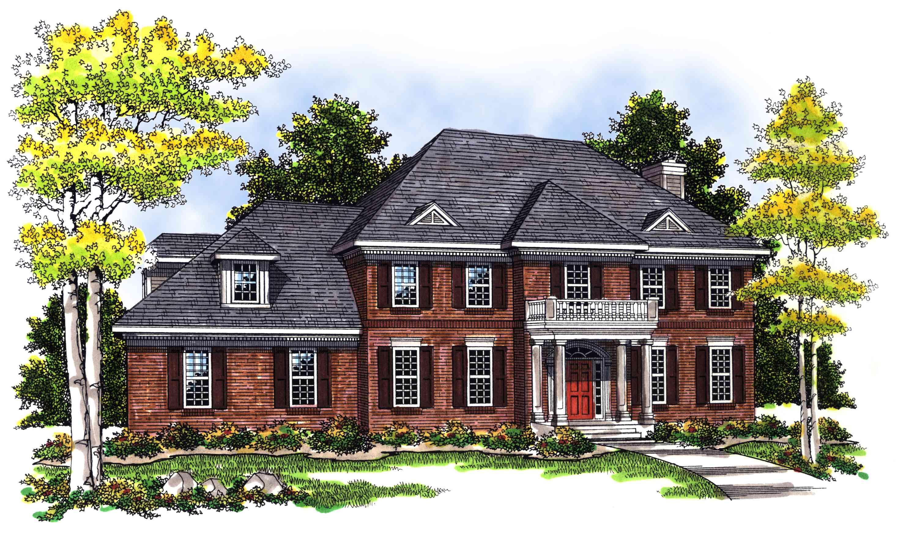 2 Story Brick Home Plan 89450ah 1st Floor Master Suite