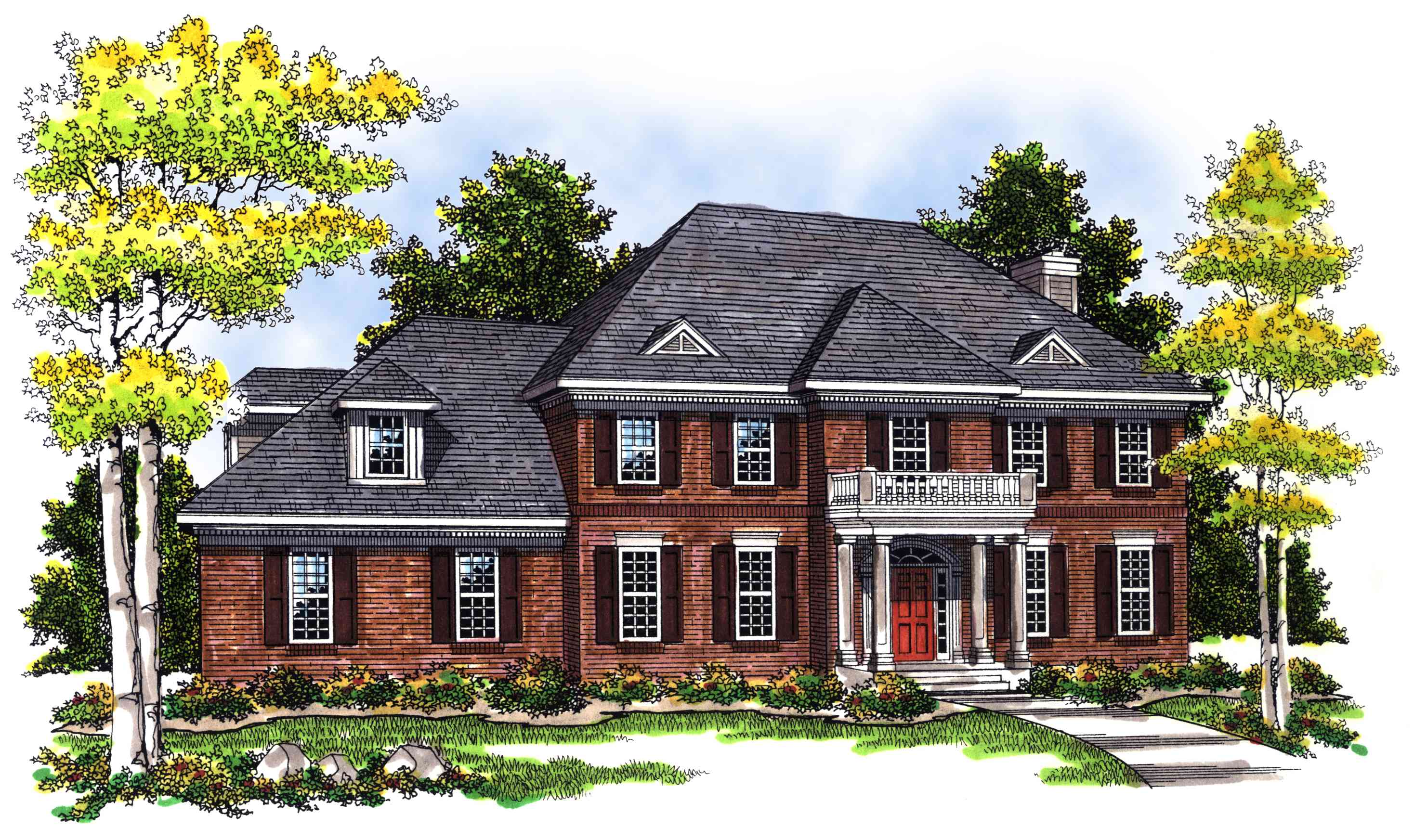 2 story brick home plan 89450ah architectural designs for 2 story brick house plans