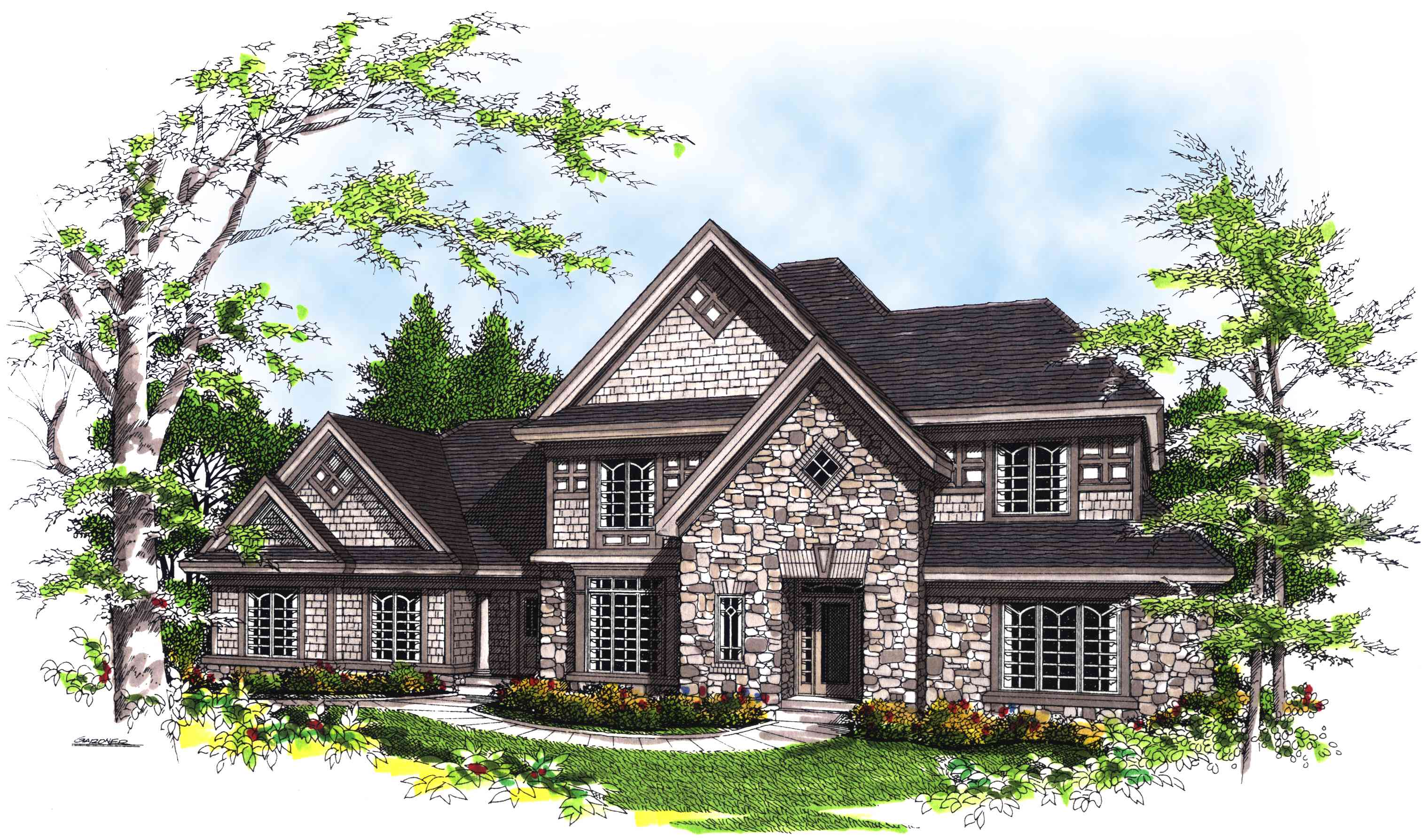 Elegant stone facade 89471ah architectural designs house plans - Stone house plans rigor and elegance ...