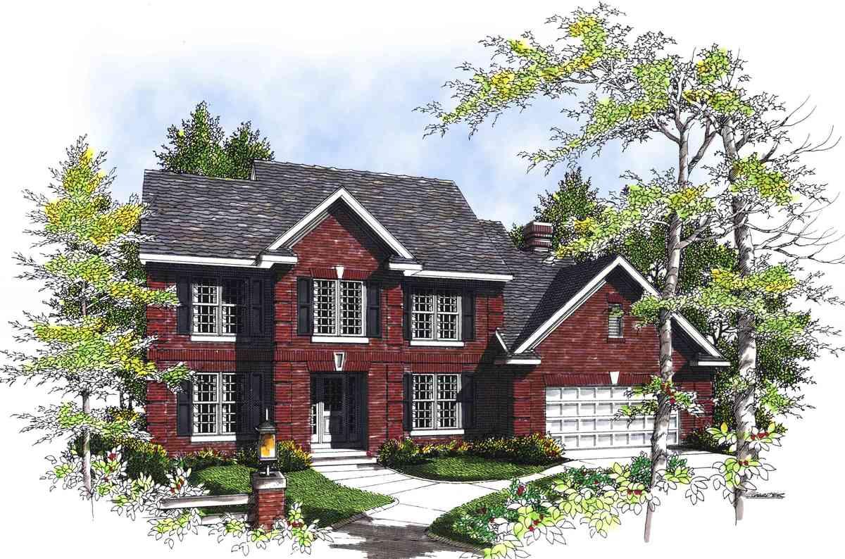 Beautiful 2 Story Traditional Home Plan 89489ah