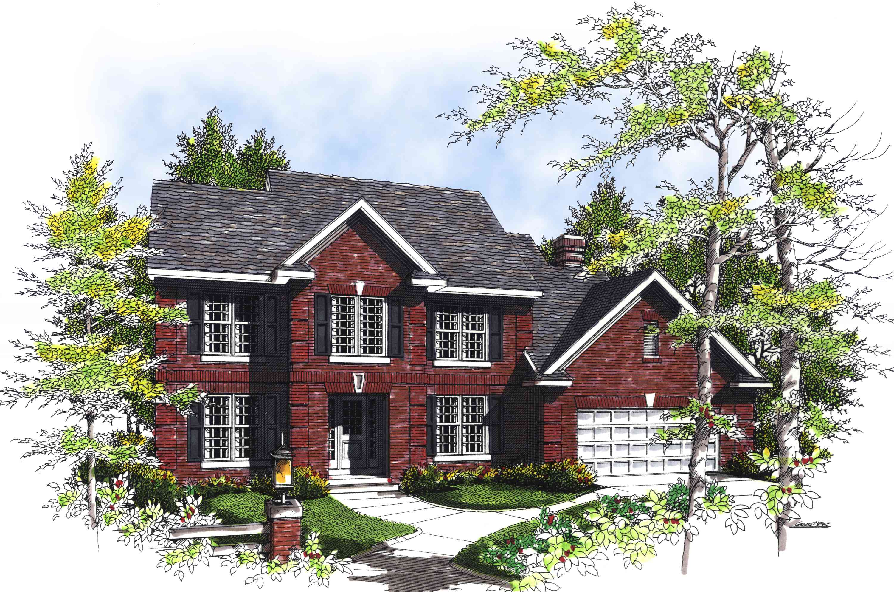 Beautiful 2 story traditional home plan 89489ah for Traditional house plans two story