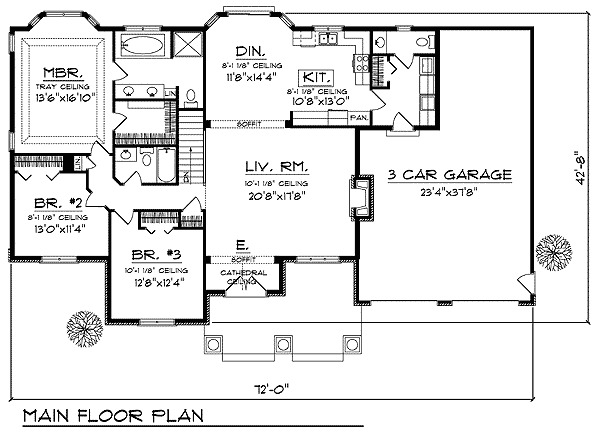 Country ranch with four alternates 89518ah 1st floor for Craftsman house plans first floor master
