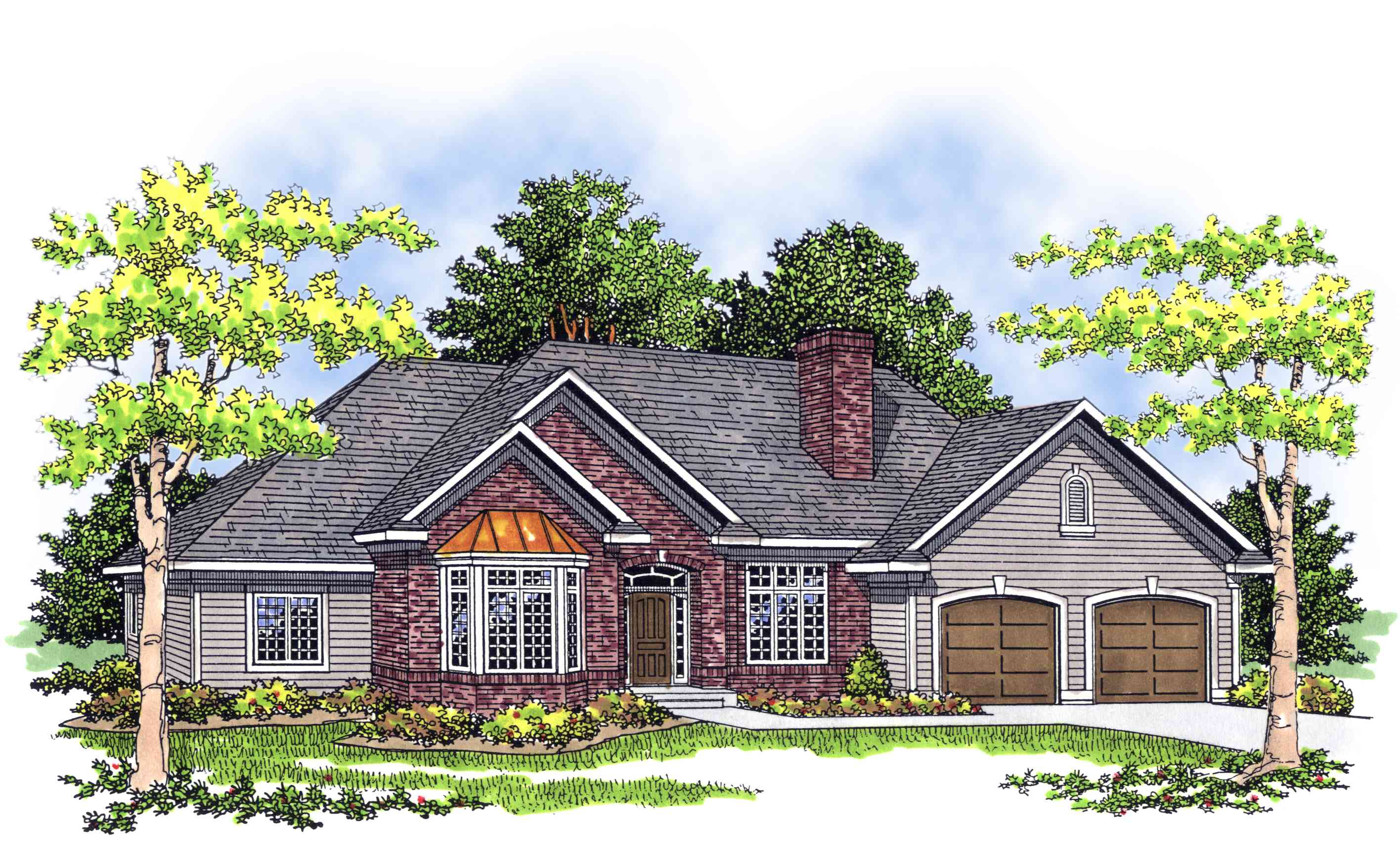 Traditional ranch with alternate exteriors 8957ah for Traditional ranch home plans