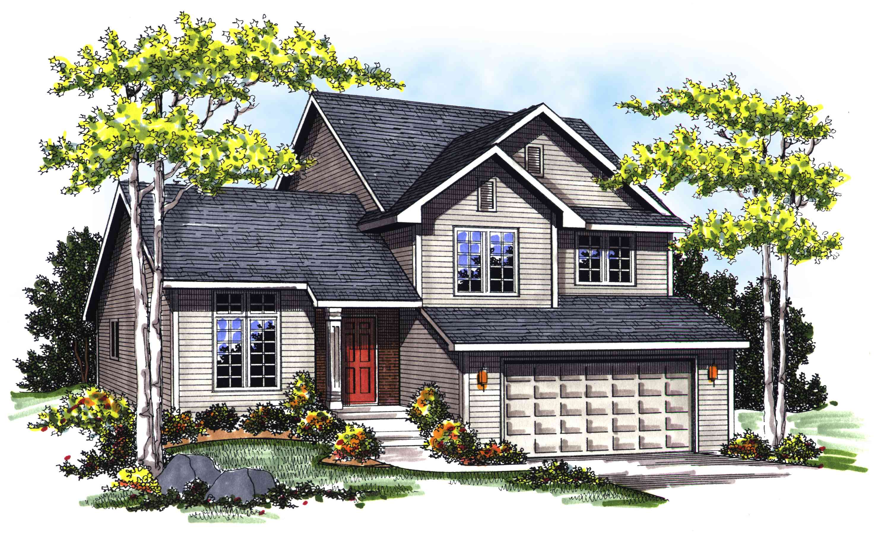 Split level with vaulted ceilings 89629ah for Vaulted ceiling house plans