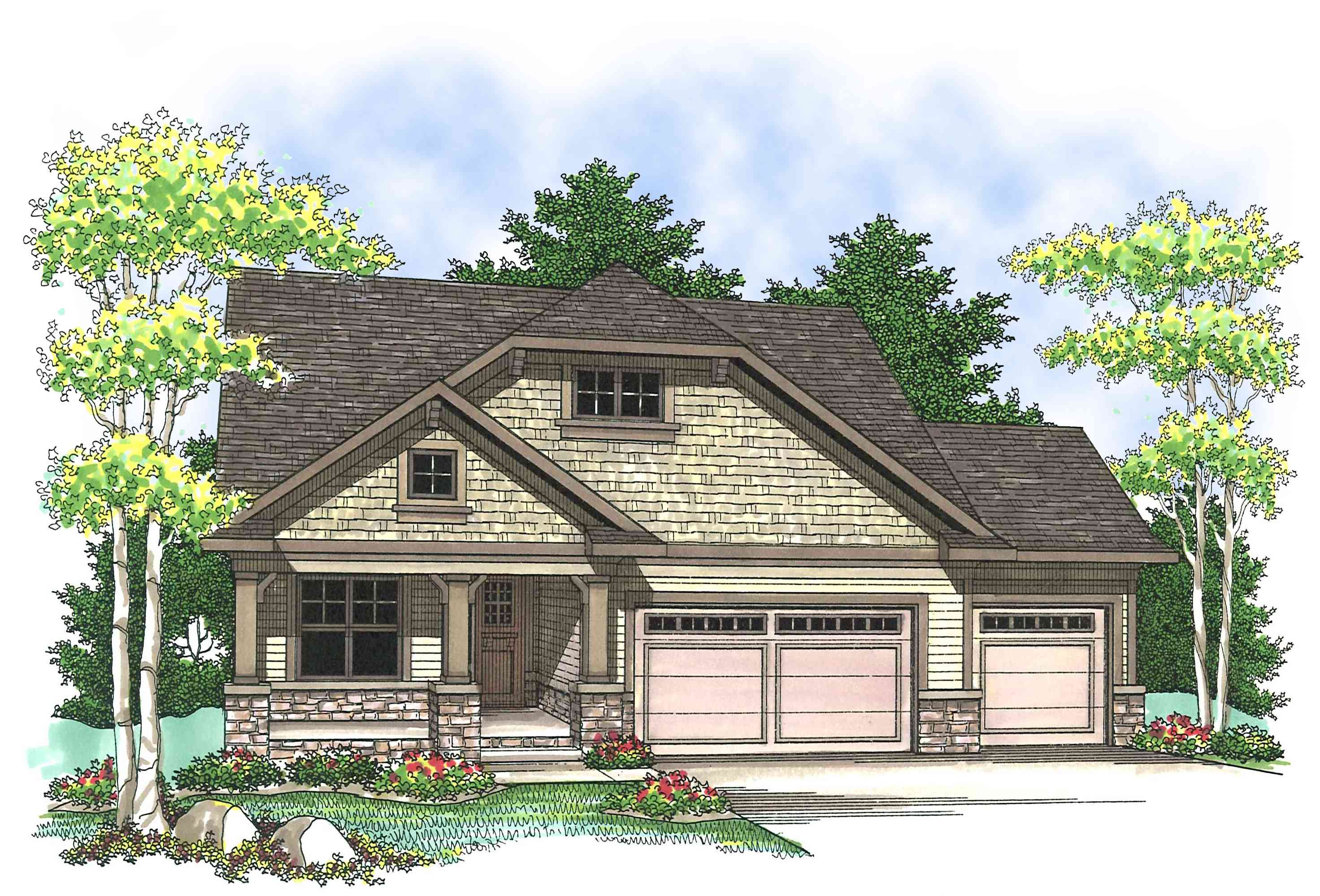 Craftsman design with open floor plan 89651ah for Ranch house plans with garage