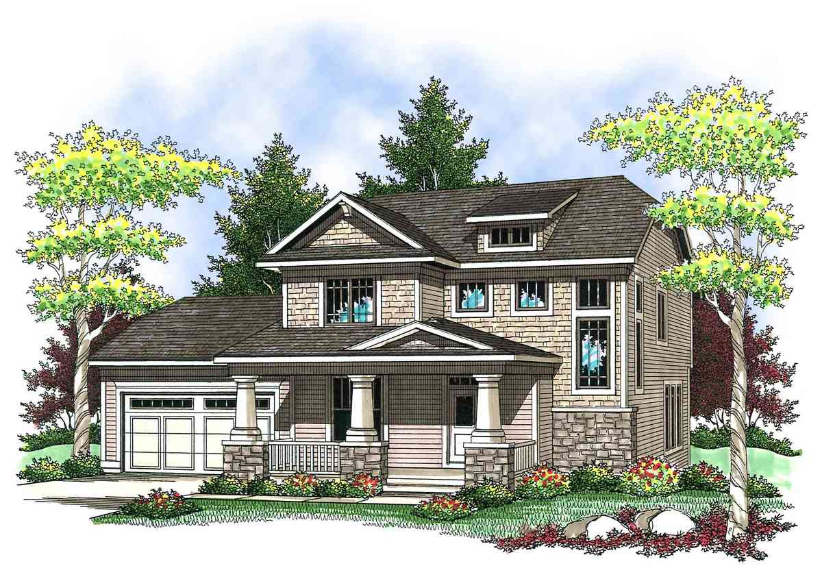 Two story craftsman with front porch 89659ah for Two story craftsman
